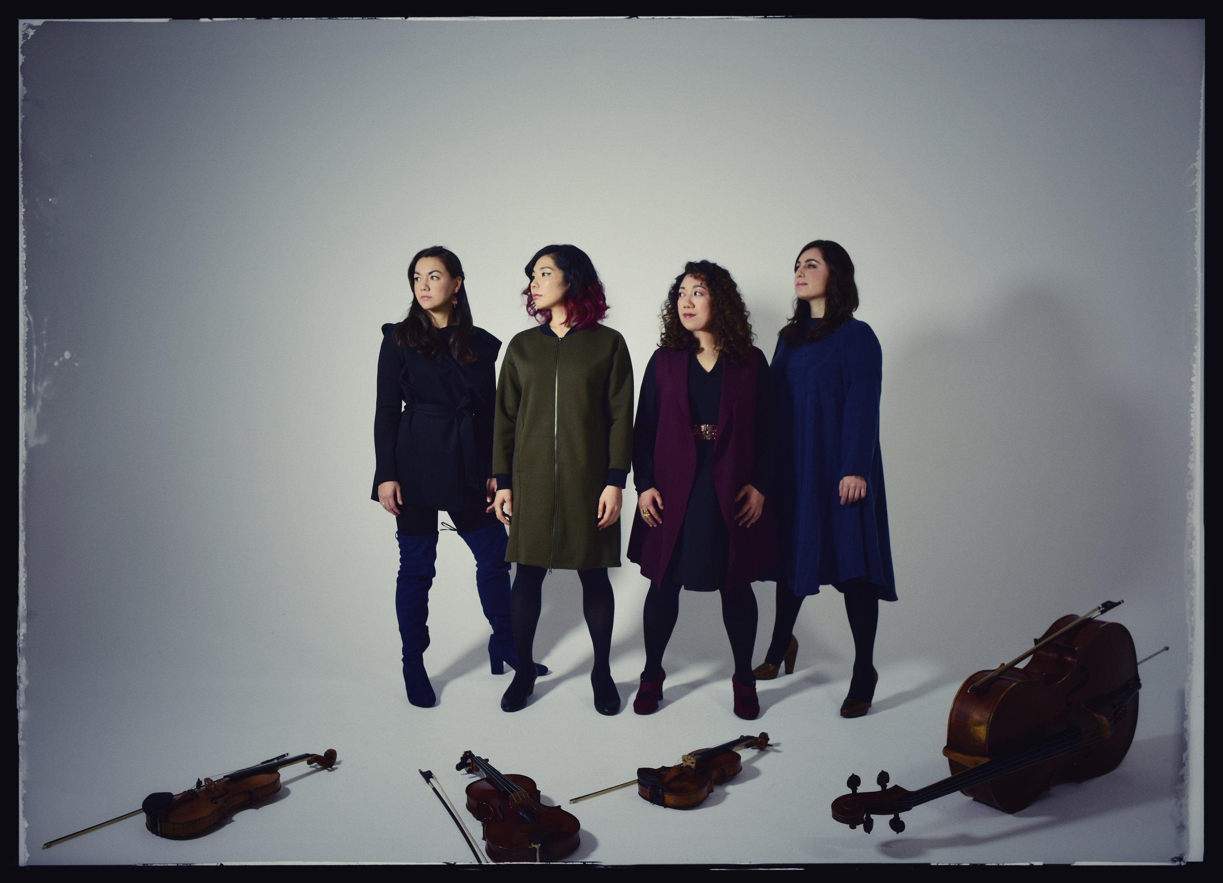 Aizuri Quartet L-R: Ariana Kim (violin); Ayane Kozasa (viola); Miho Saegusa (violin); Karen Ouzounian (cello) Photo credit: Shervin Lainez