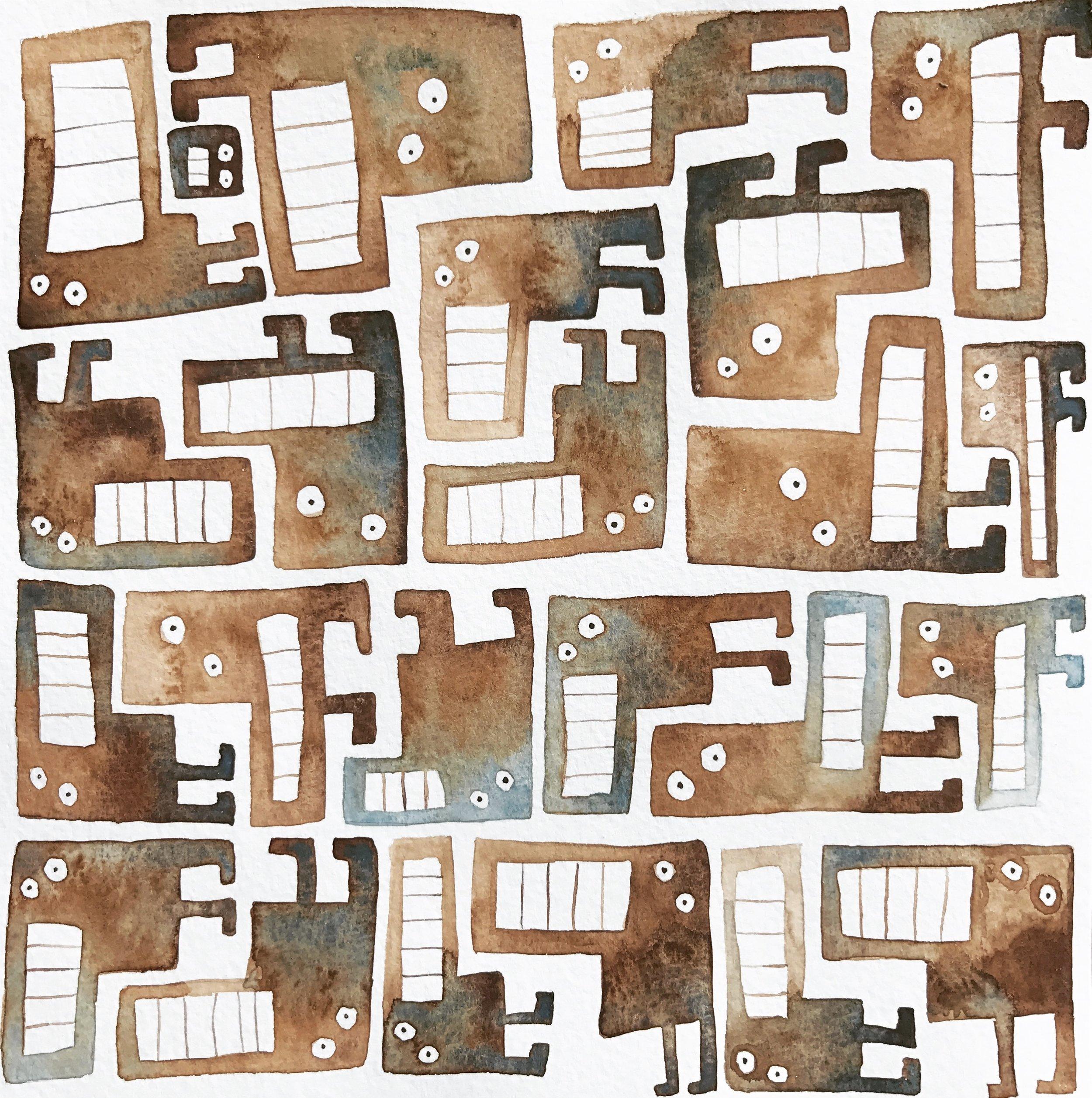 Tetris monsters brown & blue