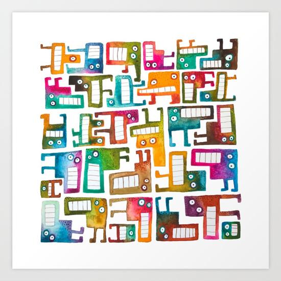 Tetris Monster Print