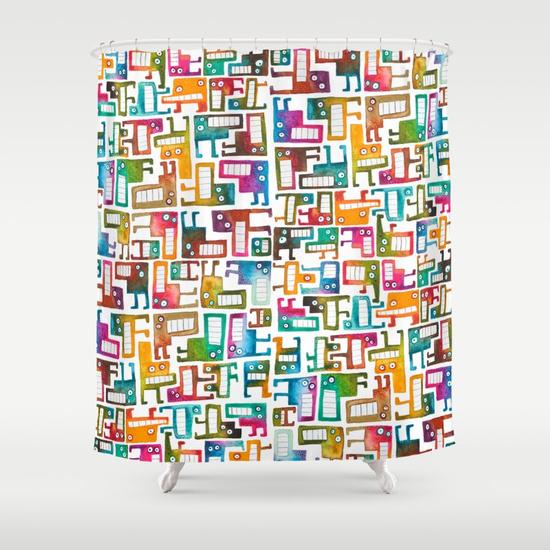 Tetris Monsters Shower Curtain