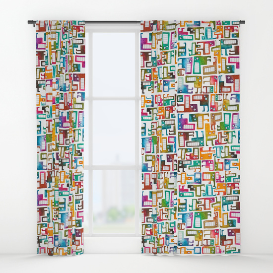 Tetris Monsters WIndow Curtains