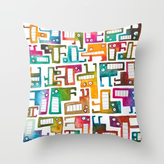 Tetris monsters Throw Pillow