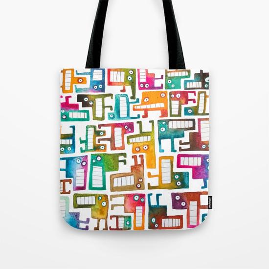 Tetris Monsters Tote Bag