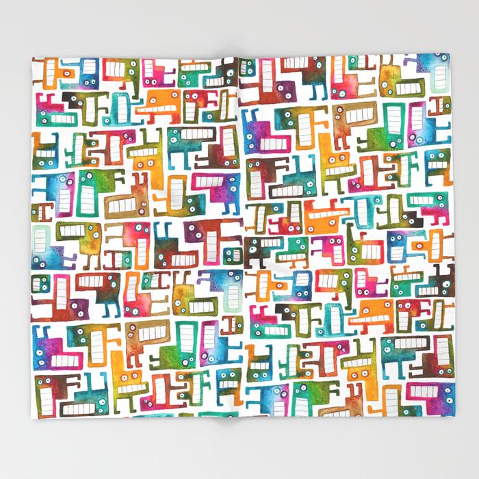 Tetris Monsters Throw Blanket