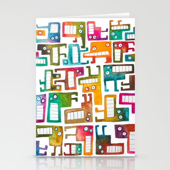 Tetris Monsters Stationery Cards