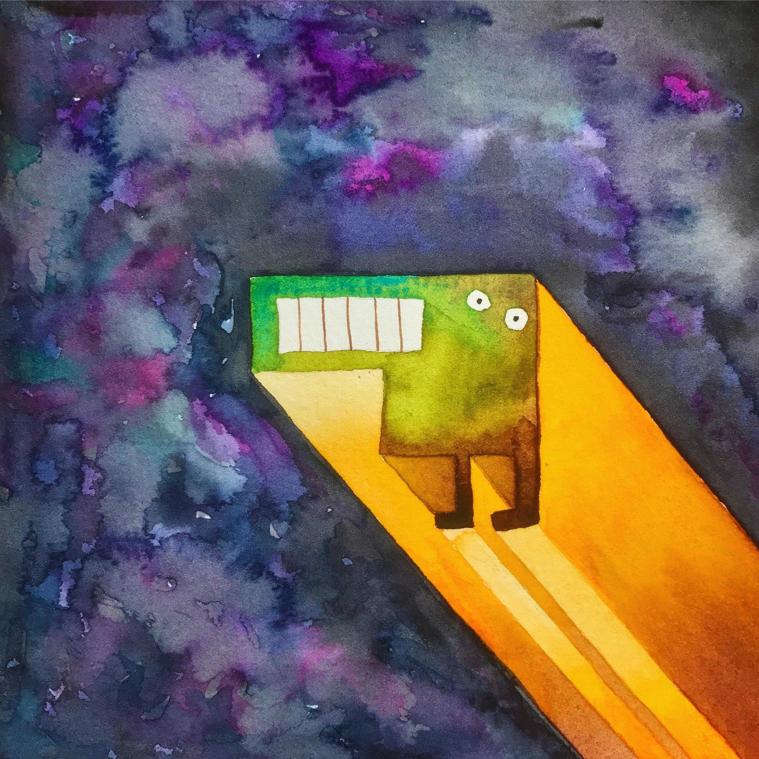 Tetris Monster in Space Green