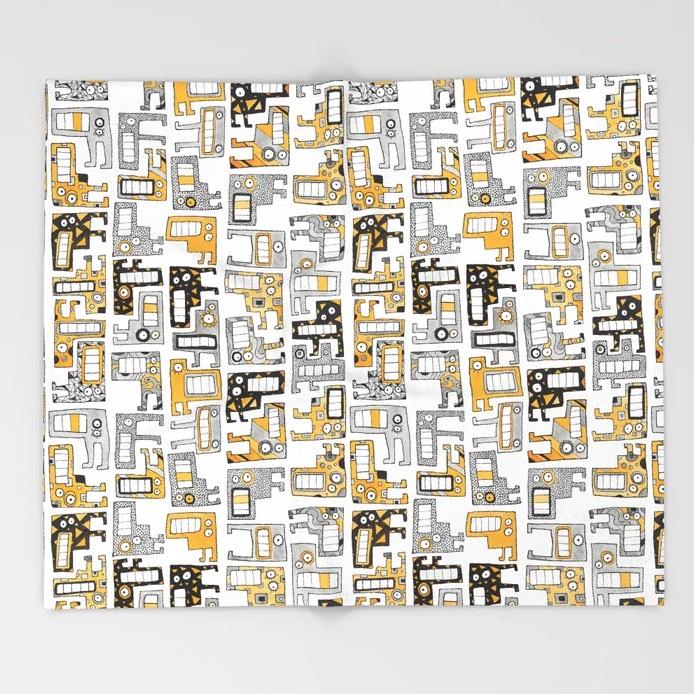 Tetris Monsters Yellow Throw Blanket