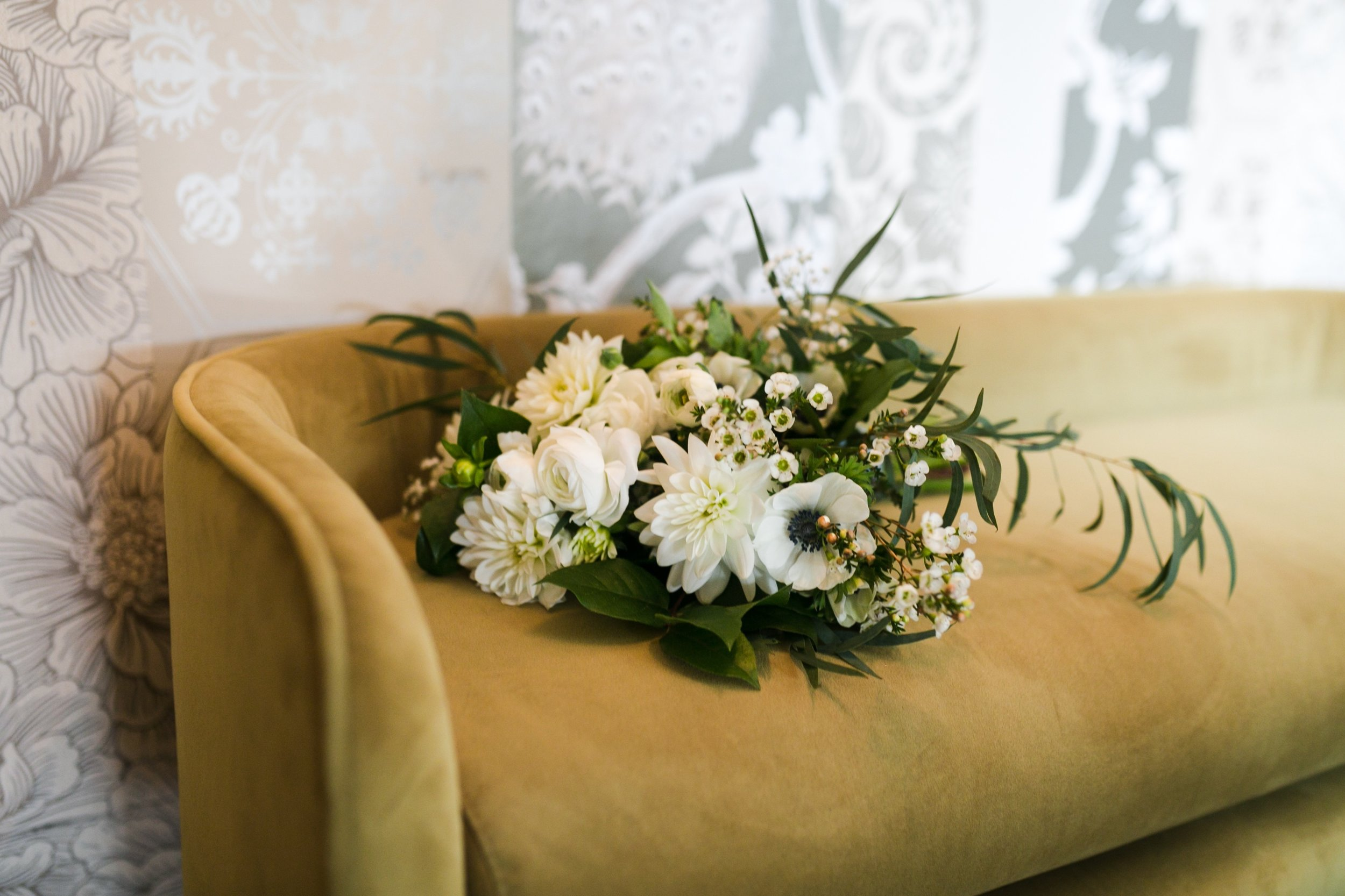 all white bouquet with anemone and dahlias #whitebouquet #lrqcfloral