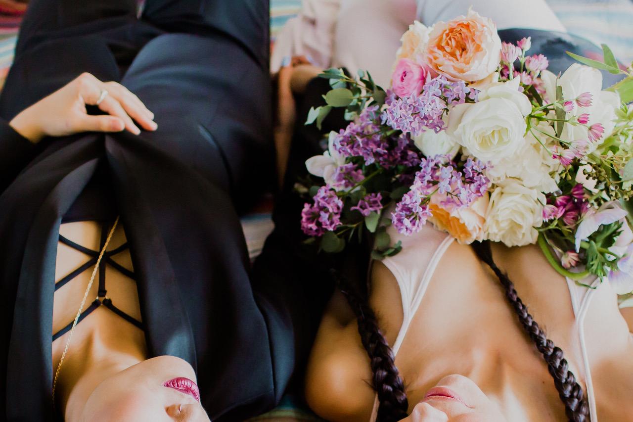 los angeles event florist for two brides with purple bouquet #lrqcfloral