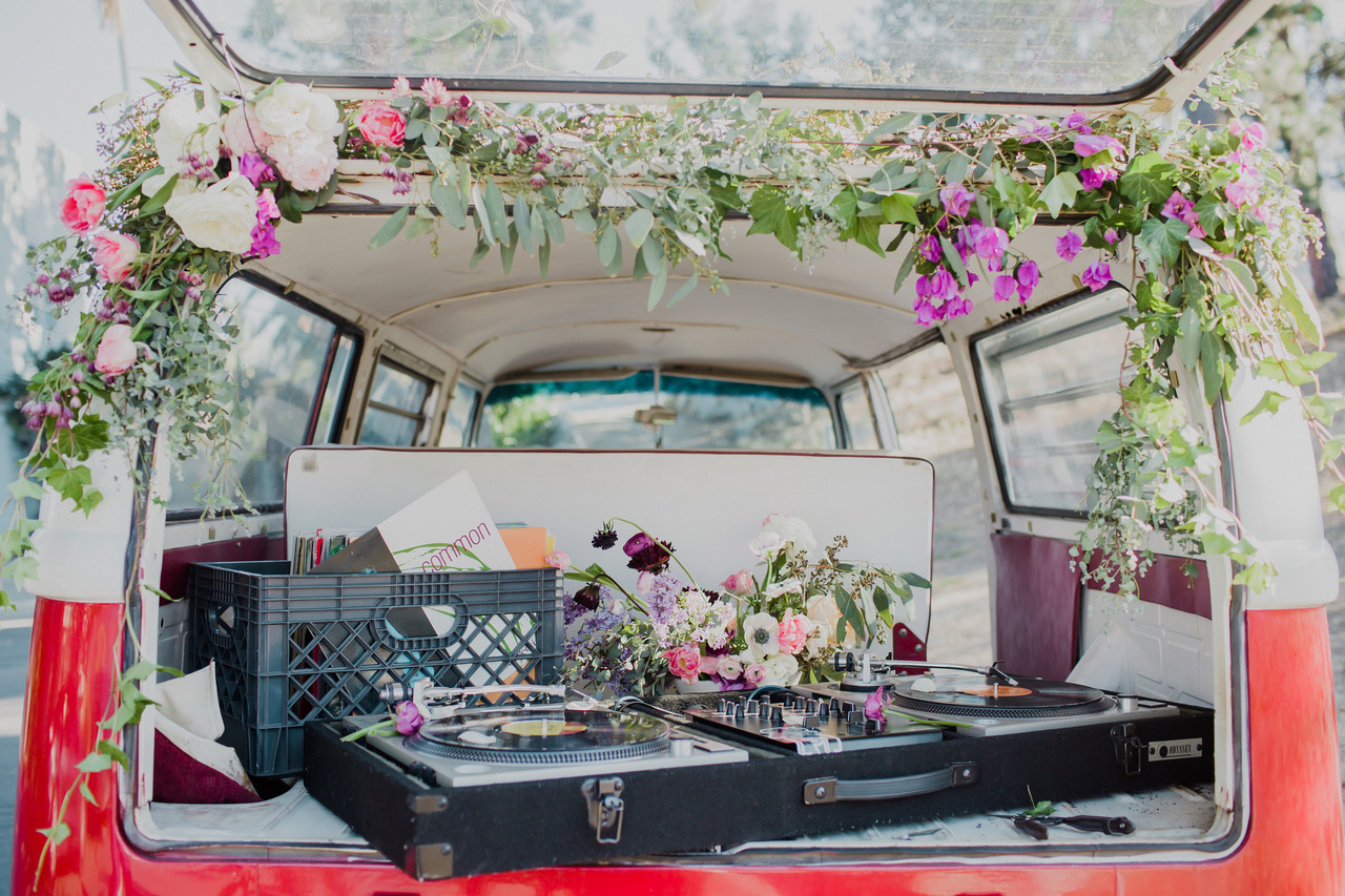 pink and white florals on a van for DJ at wedding in los angeles #lrqcfloral #bridestobe