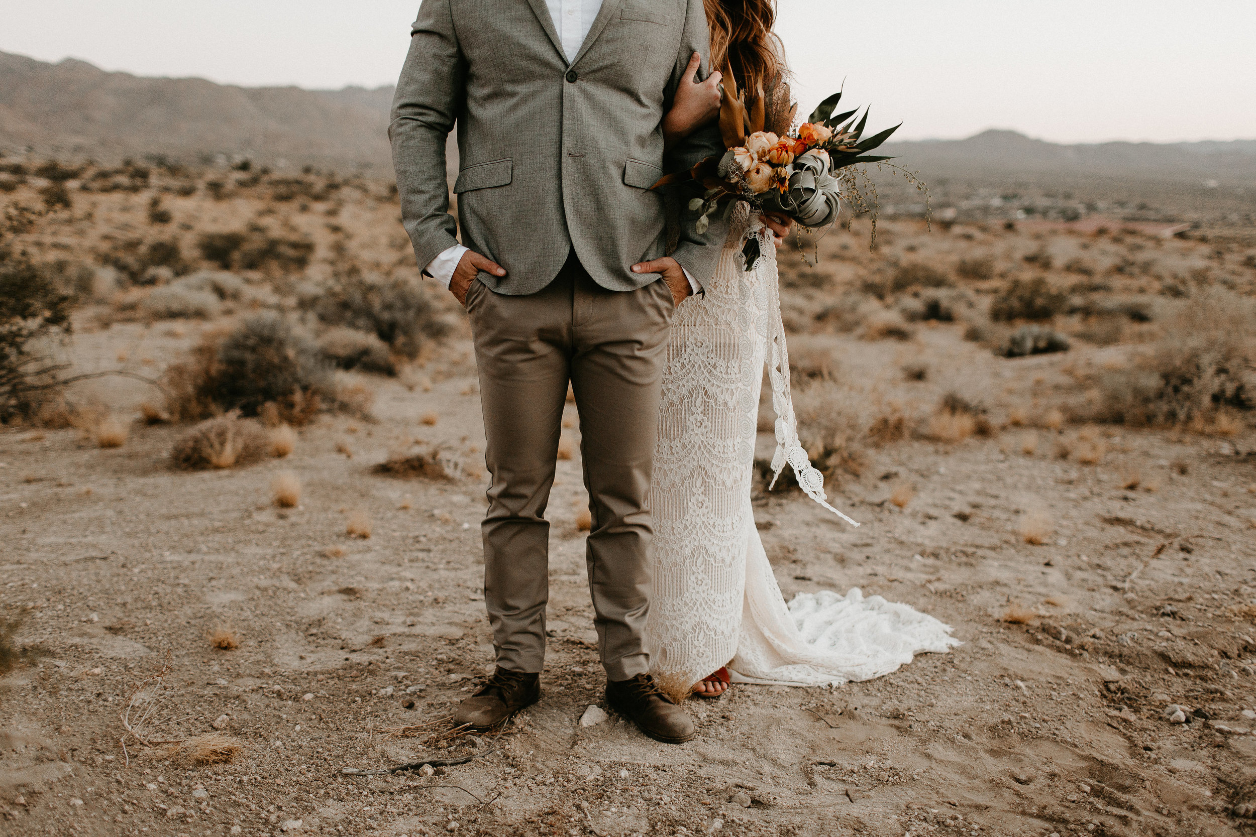 airplant bouquet for desert wedding featured on junebug weddings #lrqcfloral #jtree