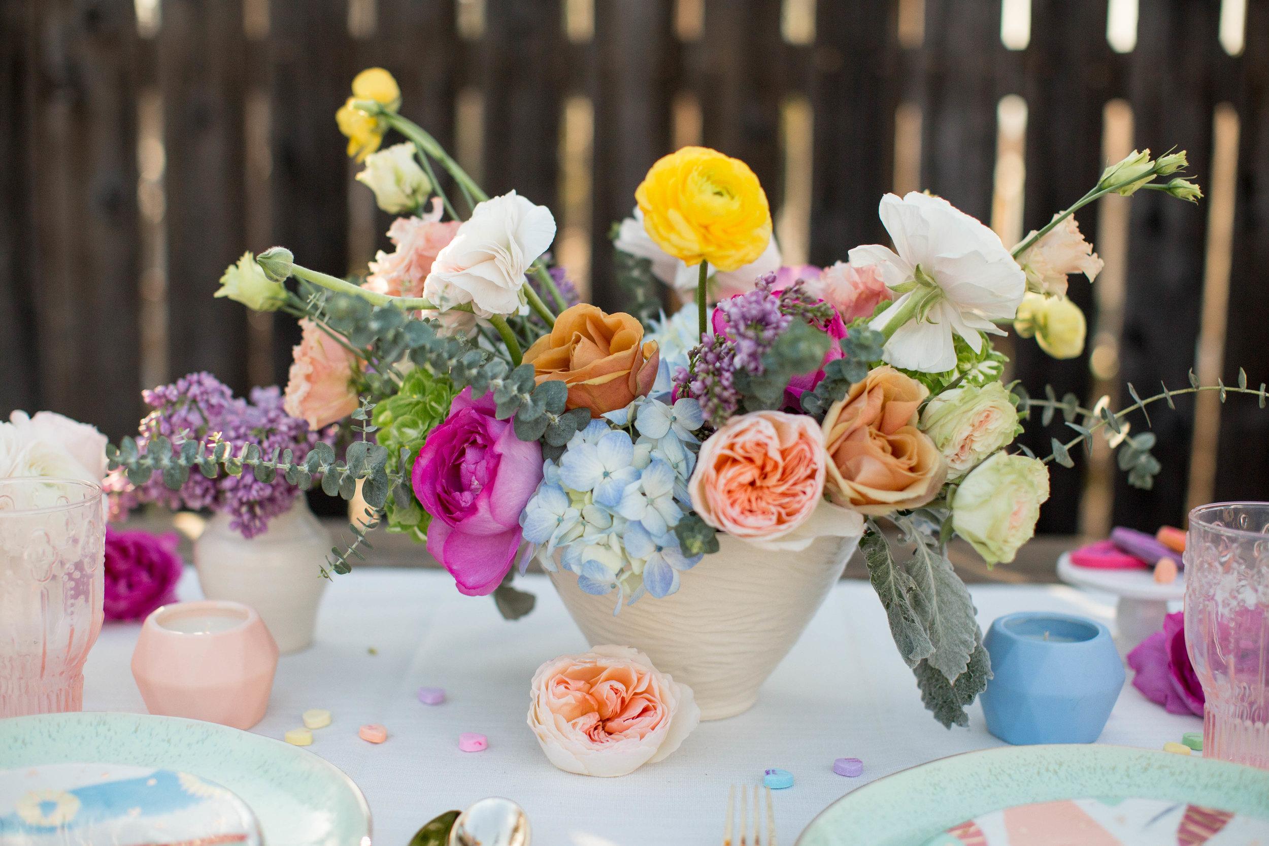 pastel floral centerpiece #lrqcfloral #valentines