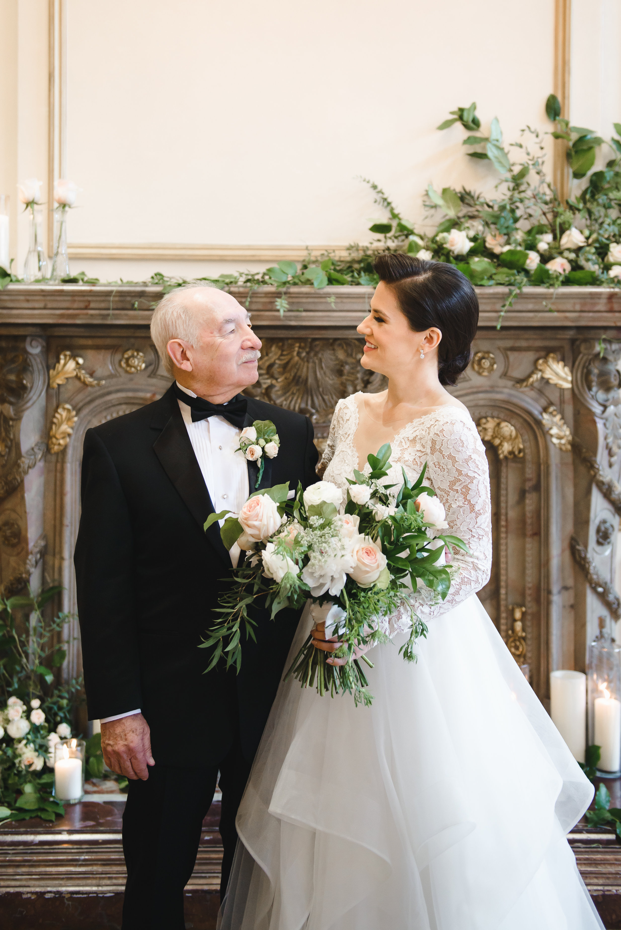 daughter father at wedding with blush bouquet #lrqcfloral #dtlawedding.jpg