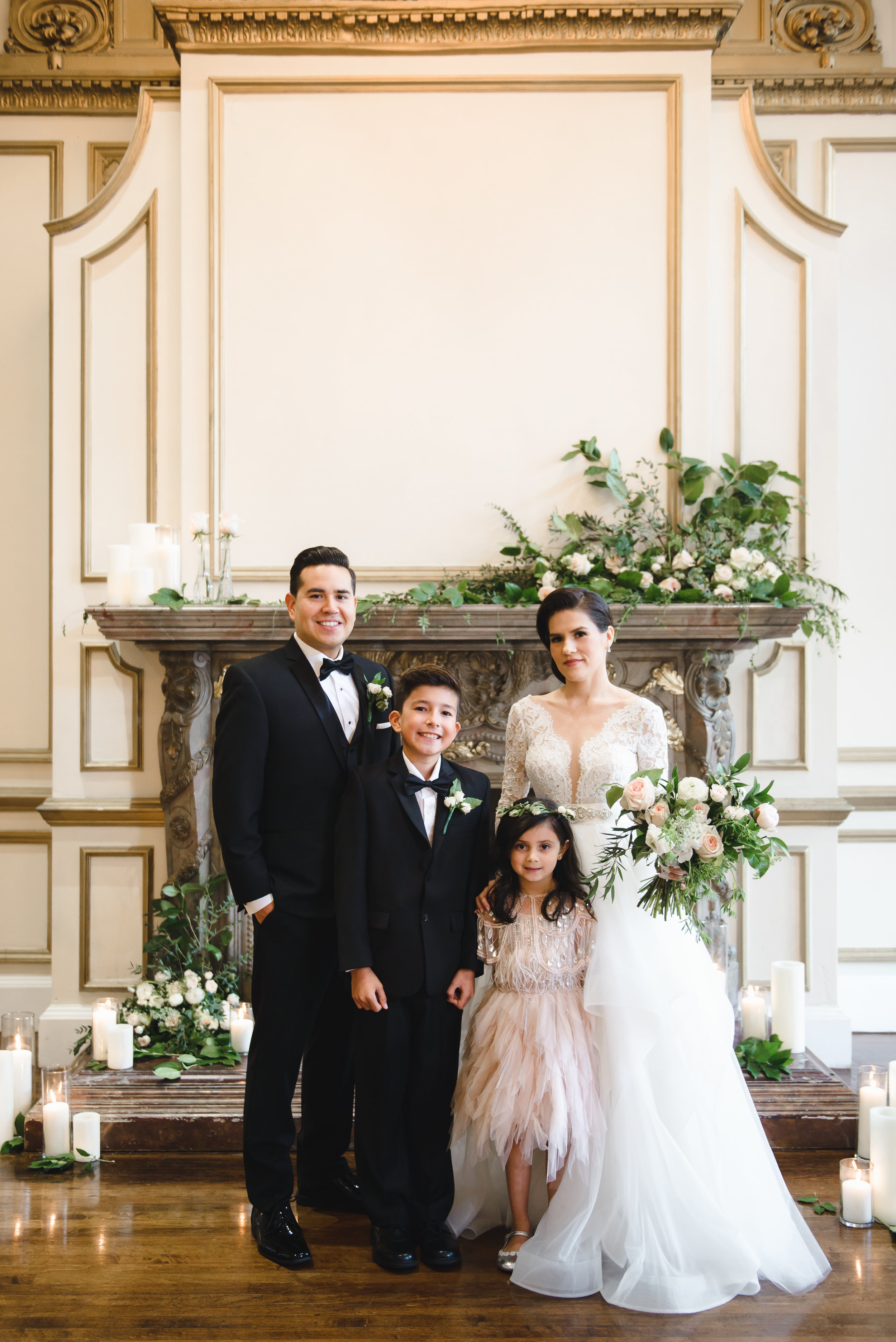 flower girls and ring bearer with bride and groom with mantel florals #lrqcfloral #dtla .jpg