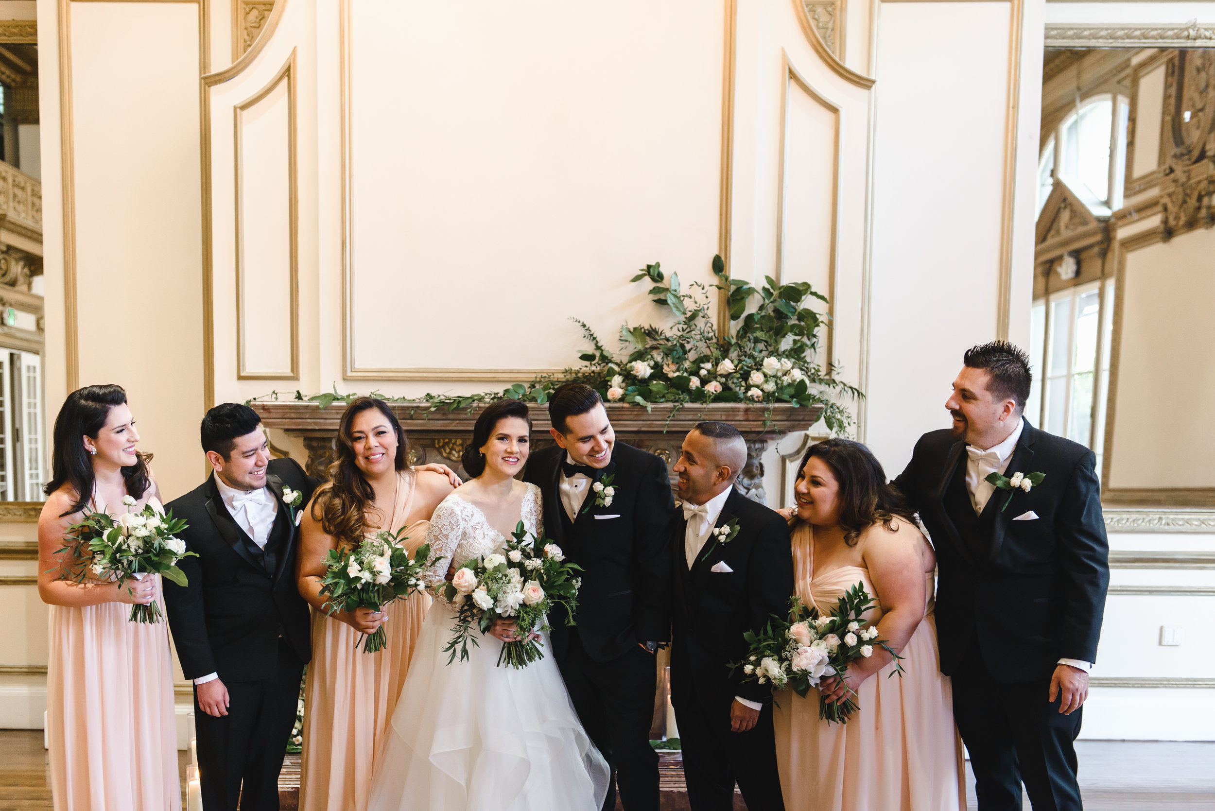 Mantel florals at Alexandria Ballroom with blush and white bouquets #lrqcfloral.jpg