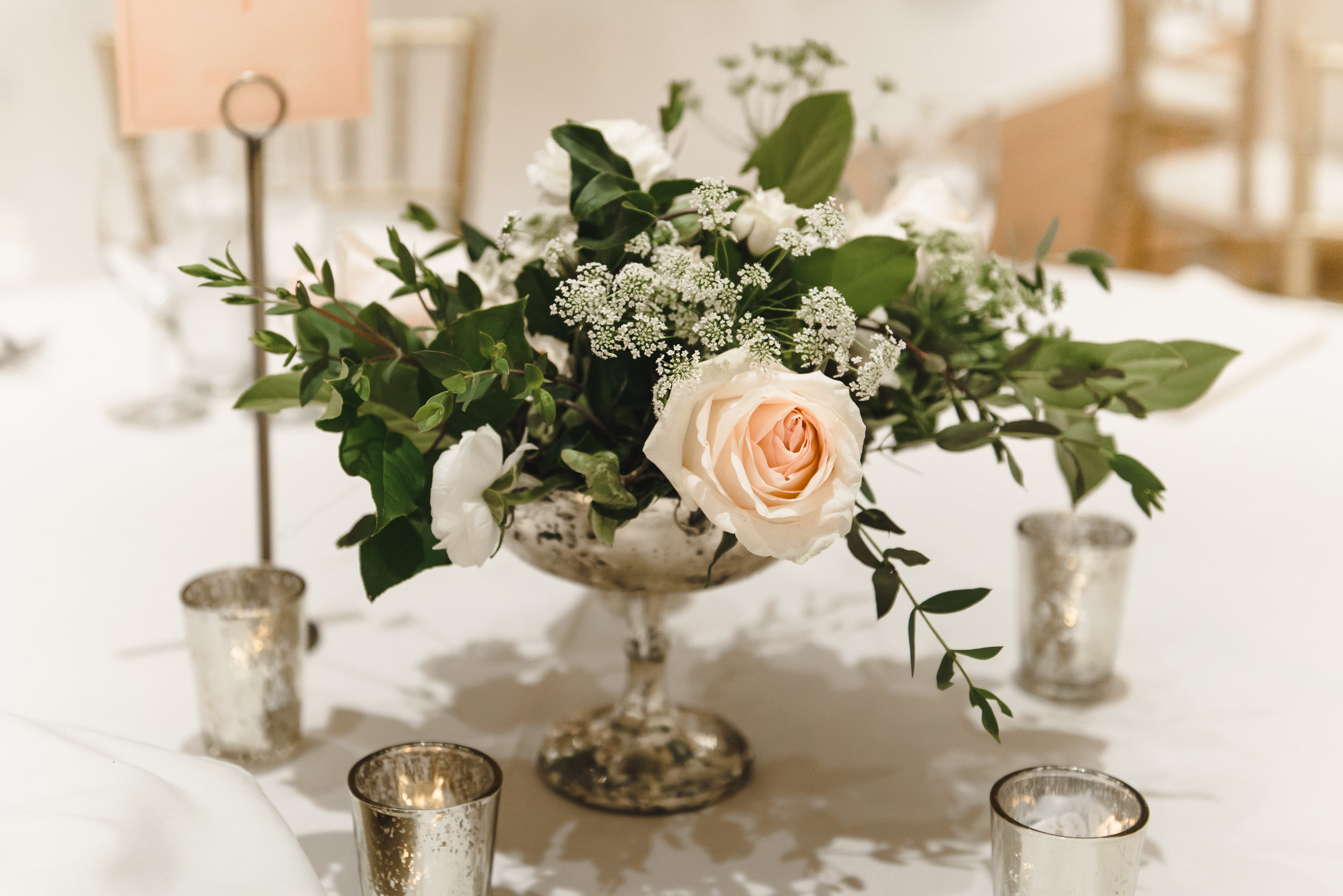 simple blush and cream centerpiece at wedding #lrqcfloral #centerpiece .jpg
