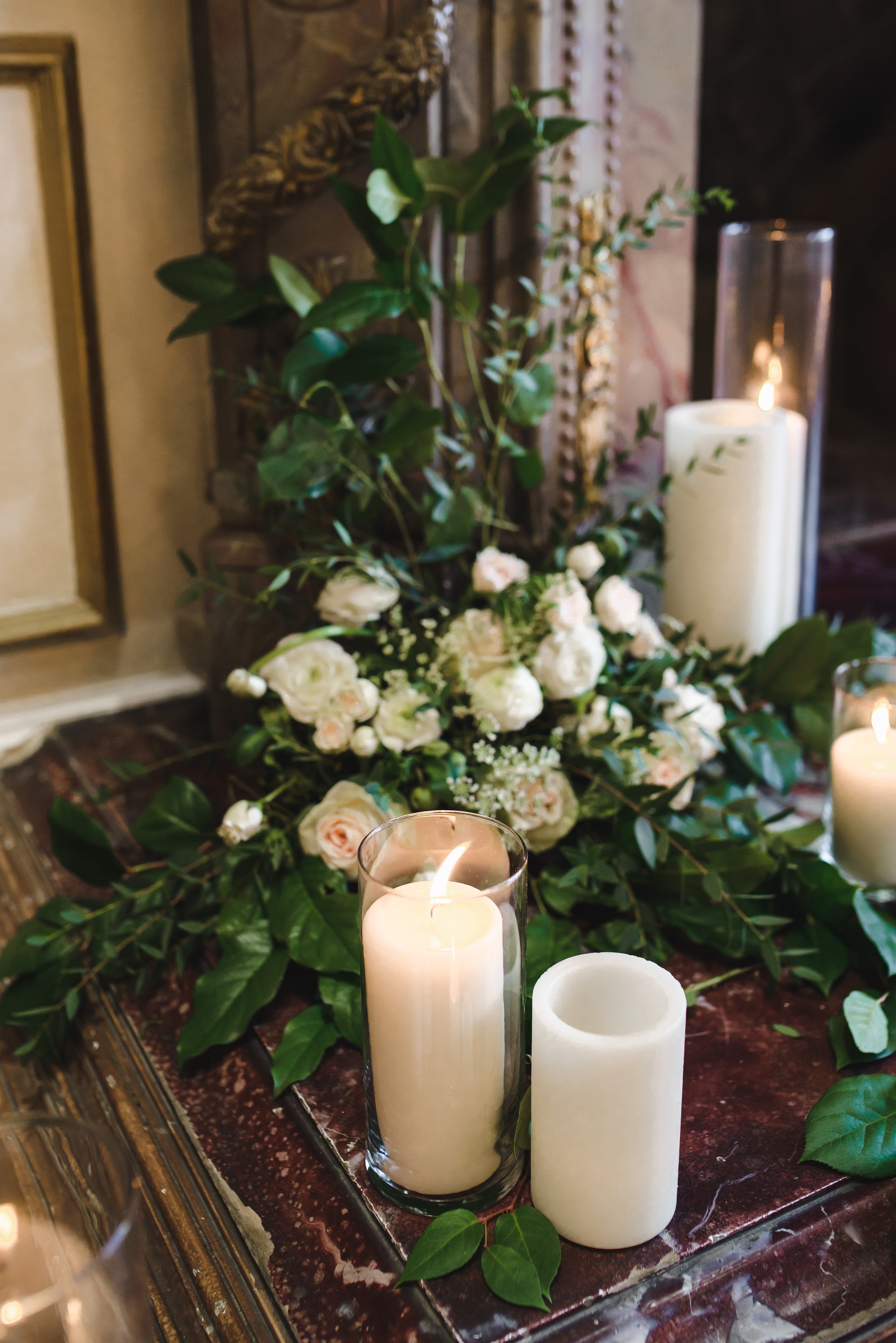 white and blush florals for wedding with candles #lrqcfloral #dtlawedding .jpg