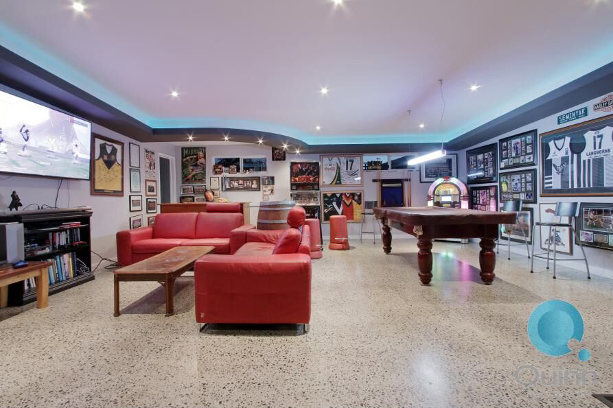 This man cave was added as an extension to the rear of the home.