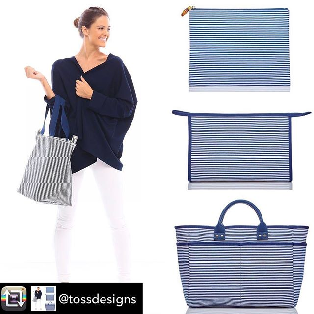 We ❤️ this classic nautical look from Toss Designs. Bring it on the boat, to the beach or with you on your daily errands- these bags and pouches are the perfect summer accessory!! Repost from @tossdesigns - You can never go wrong with navy and white stripe. #setsailcollection #newarrivals