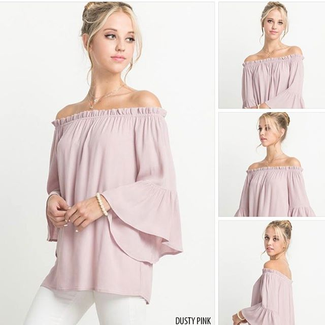 Crushing over this new arrival! Dusty pink off-the-shoulder with bell sleeves, this cutie is just $30 plus free shipping! Comment below with your size and email address for an invoice! #live #dazzle #dazzlebar #loveit #musthave #wardrobe #favorite #beautiful #summer #summerfun #spring #warmweather