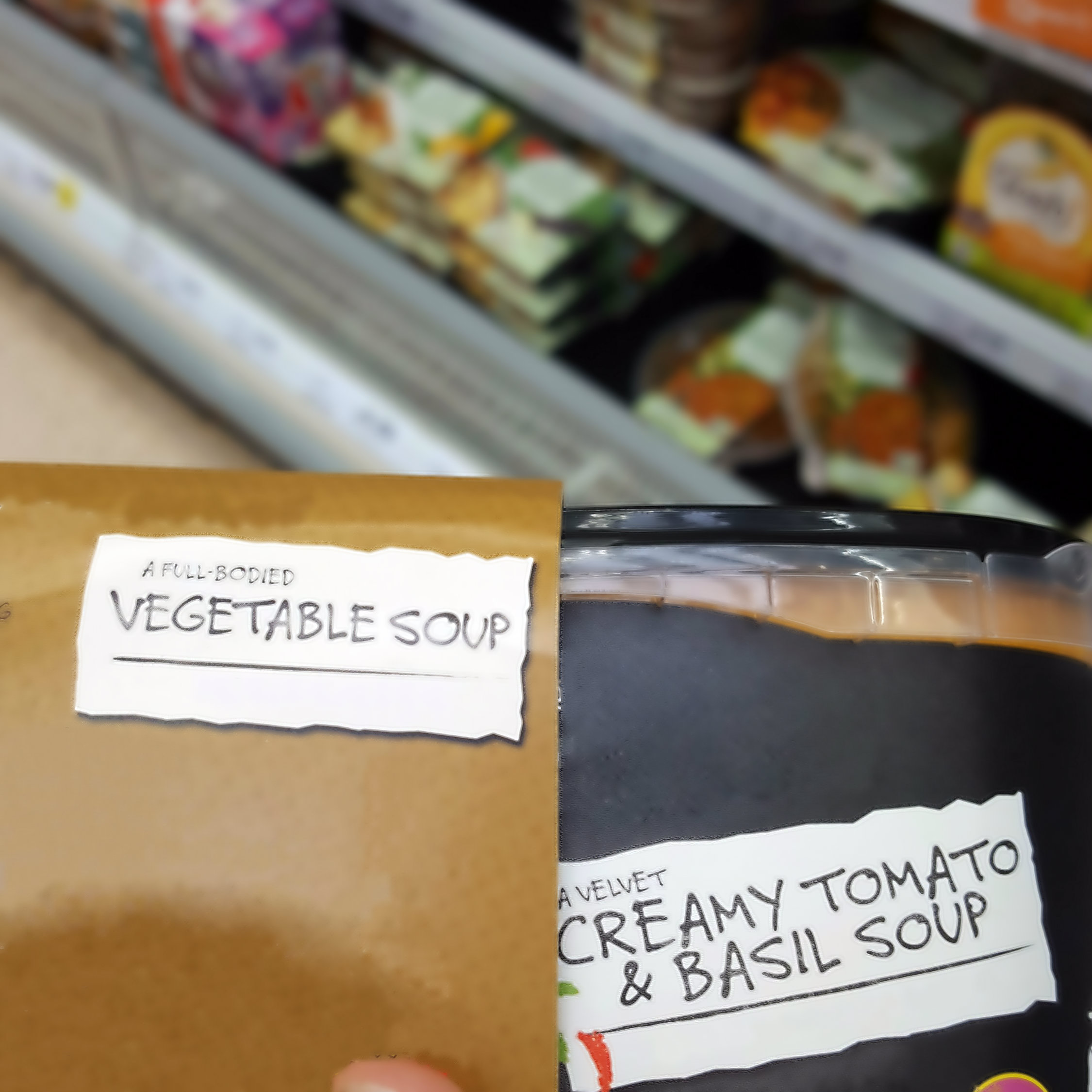 An example of a tomato soup incorrectly packaged in a vegetable soup sleeve.