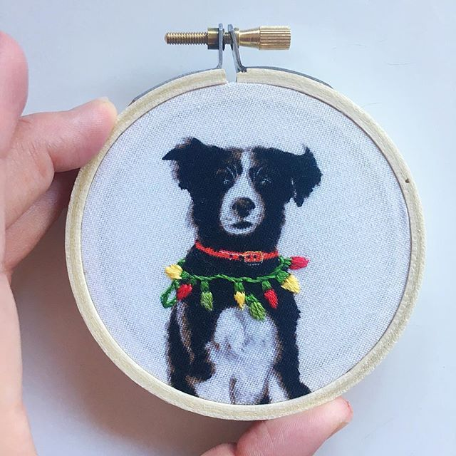"""Uh oh"" - we love this little border collie all draped in Christmas lights! 😂 🐶 💕 Available now via our Etsy (link in bio) x"