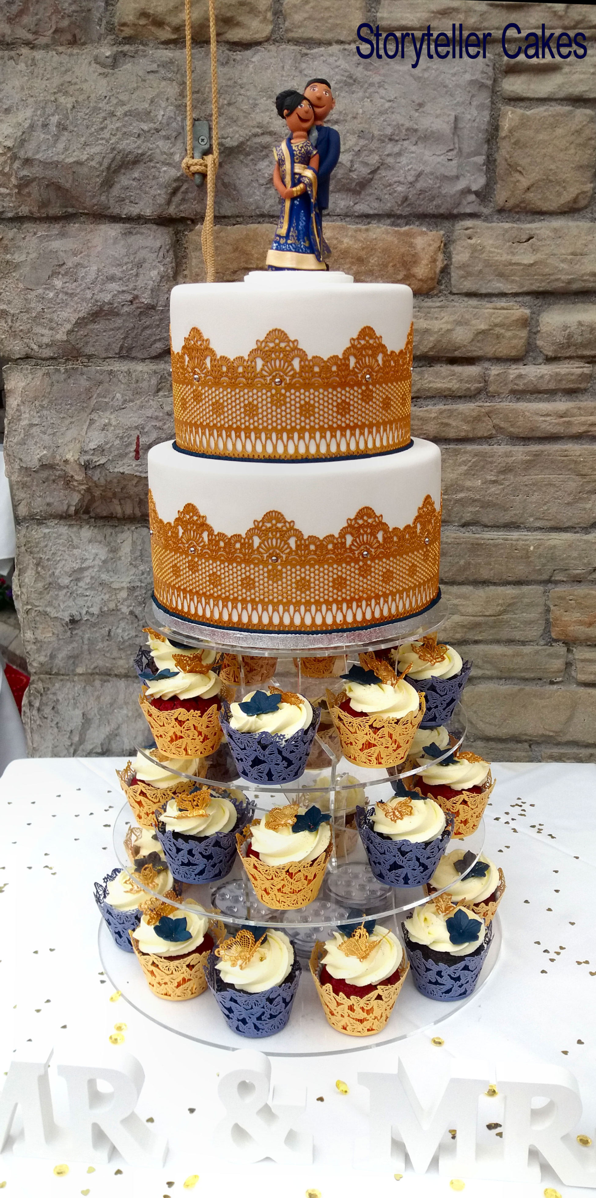 Indain Gold Lace Wedding Cake 1.jpg