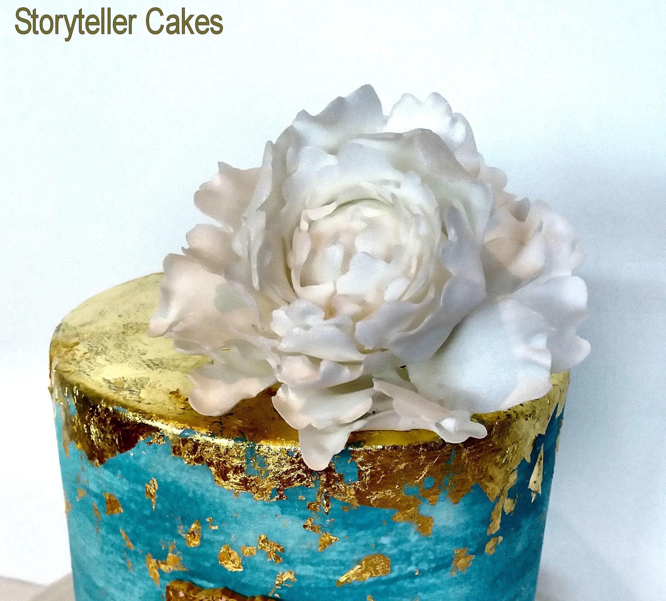 Blue Gold and white 50th birthday cake2.jpg