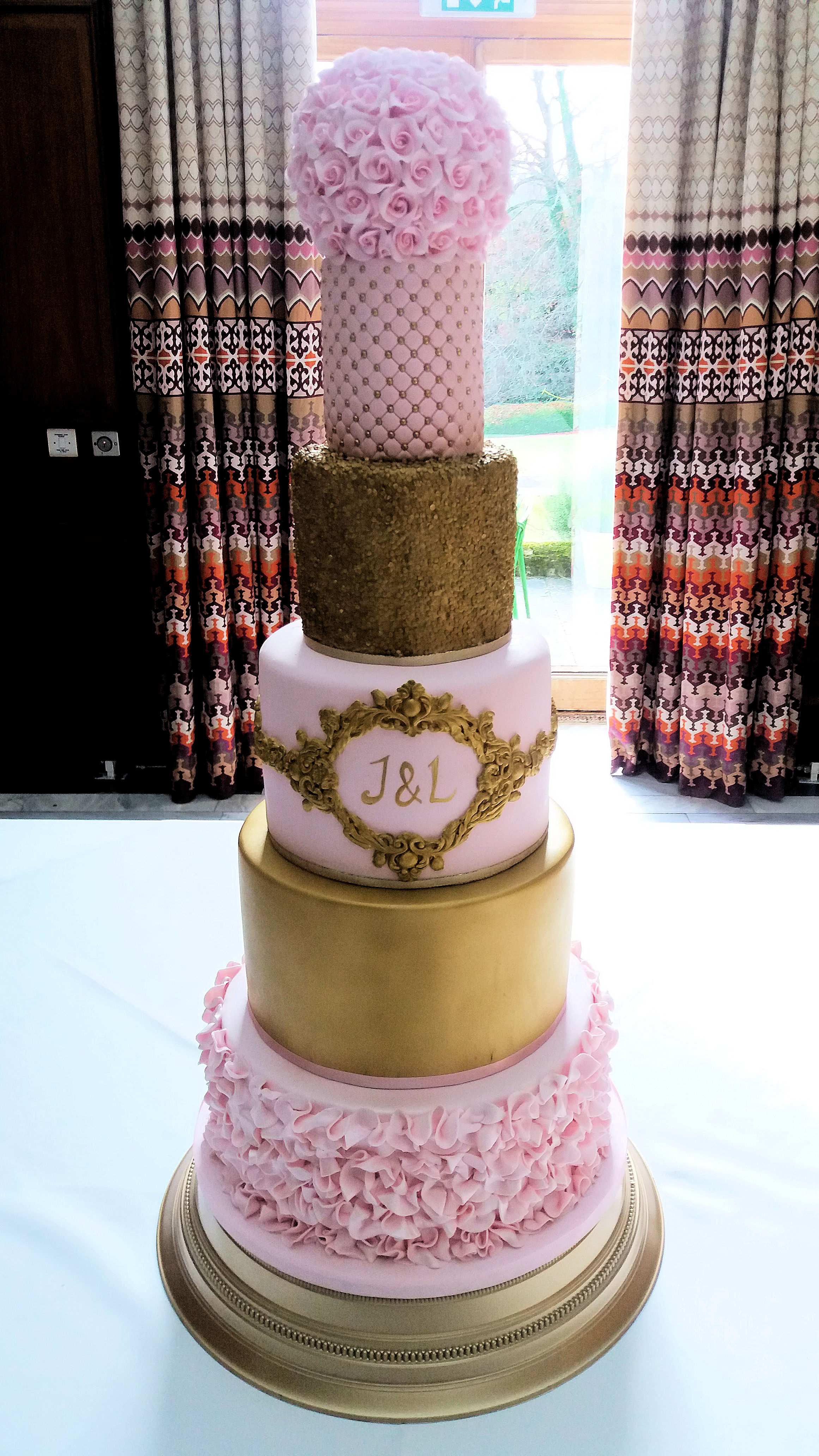 Pink and gold ruffle sequin rose wedding cake.jpg