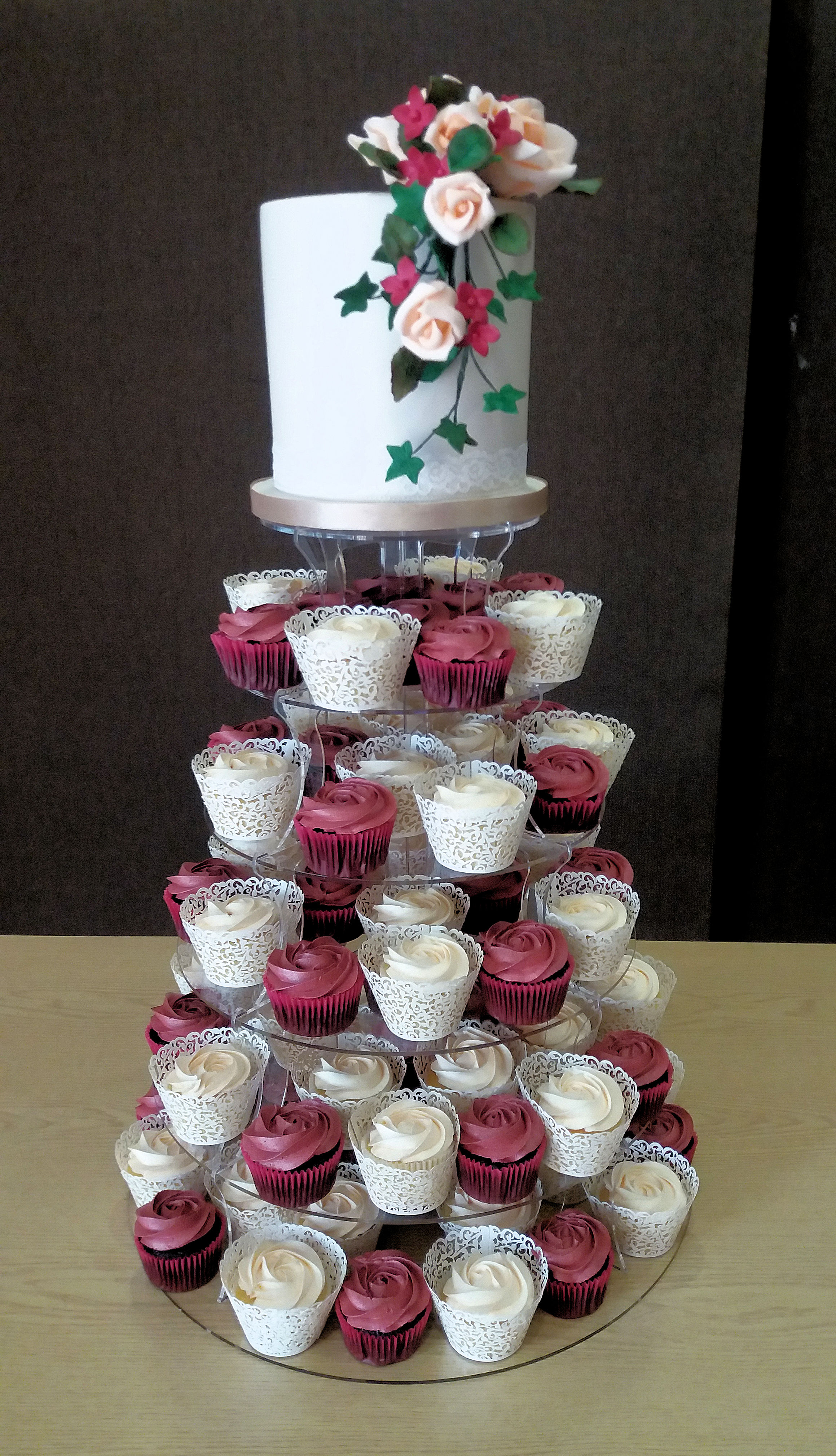 rose wedding cake and cupcake tower 1.jpg