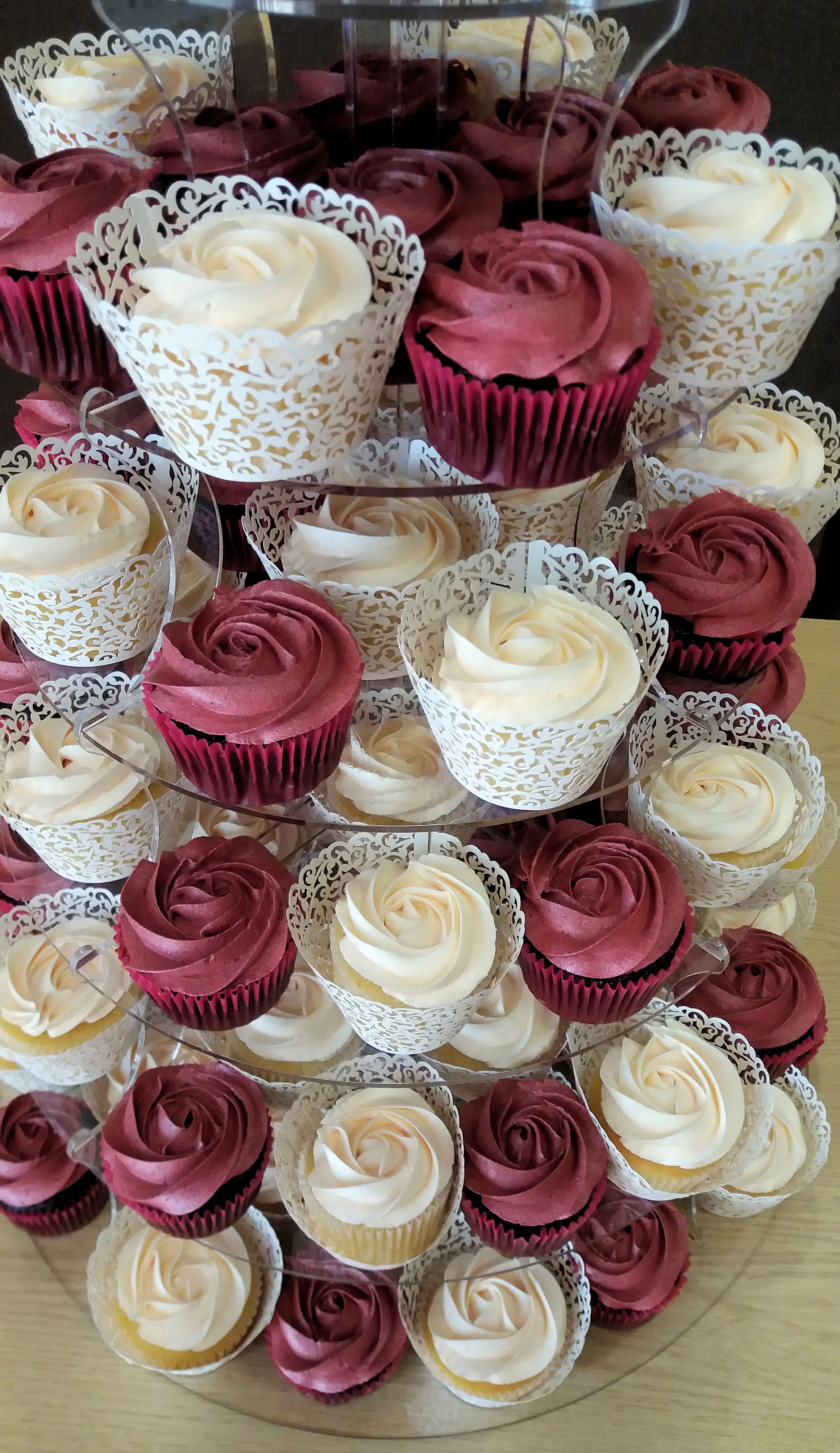 rose wedding cake and cupcake tower 3.jpg