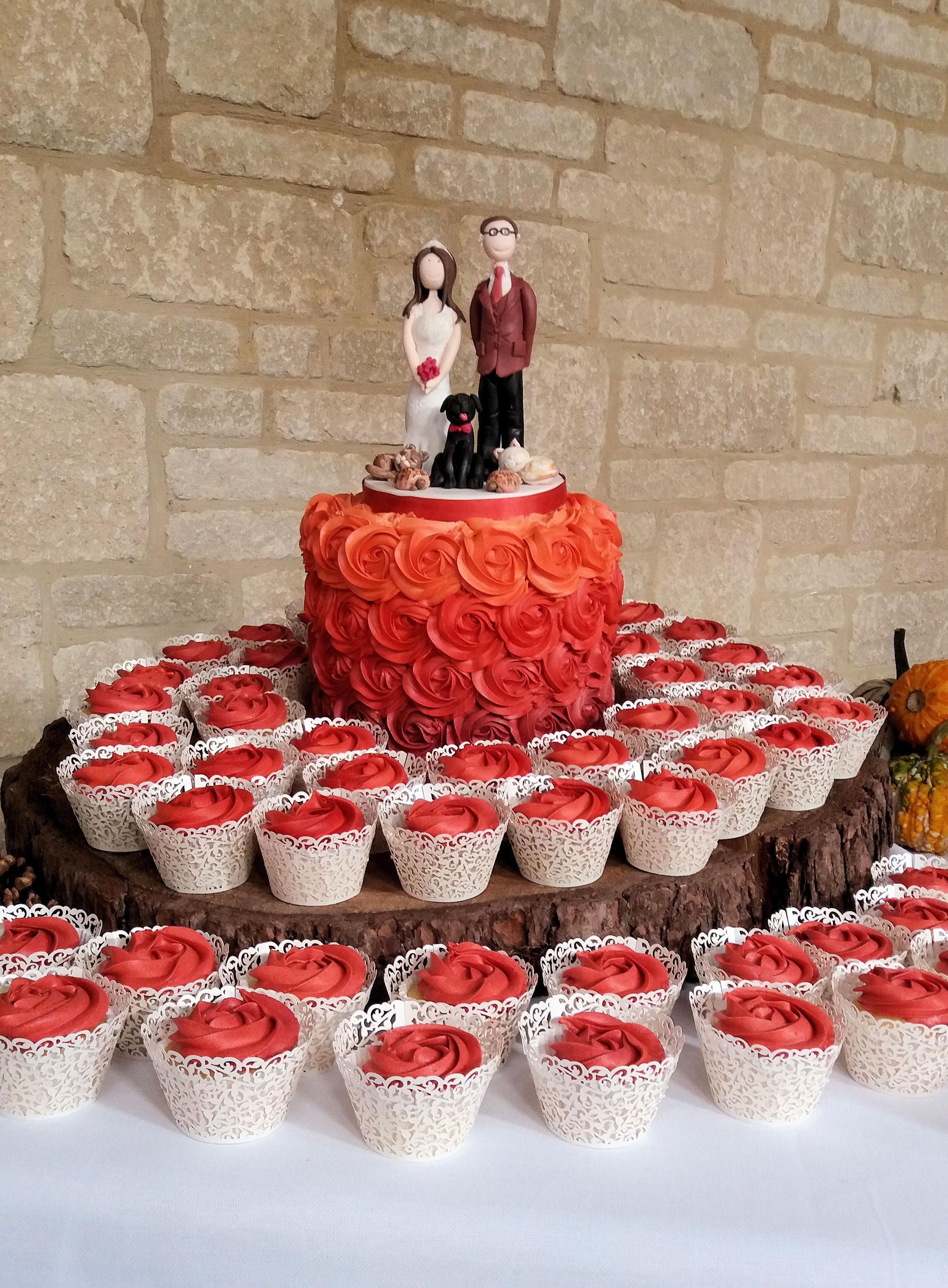 Ombre Rose Wedding Cake & Cupcakes1.jpg