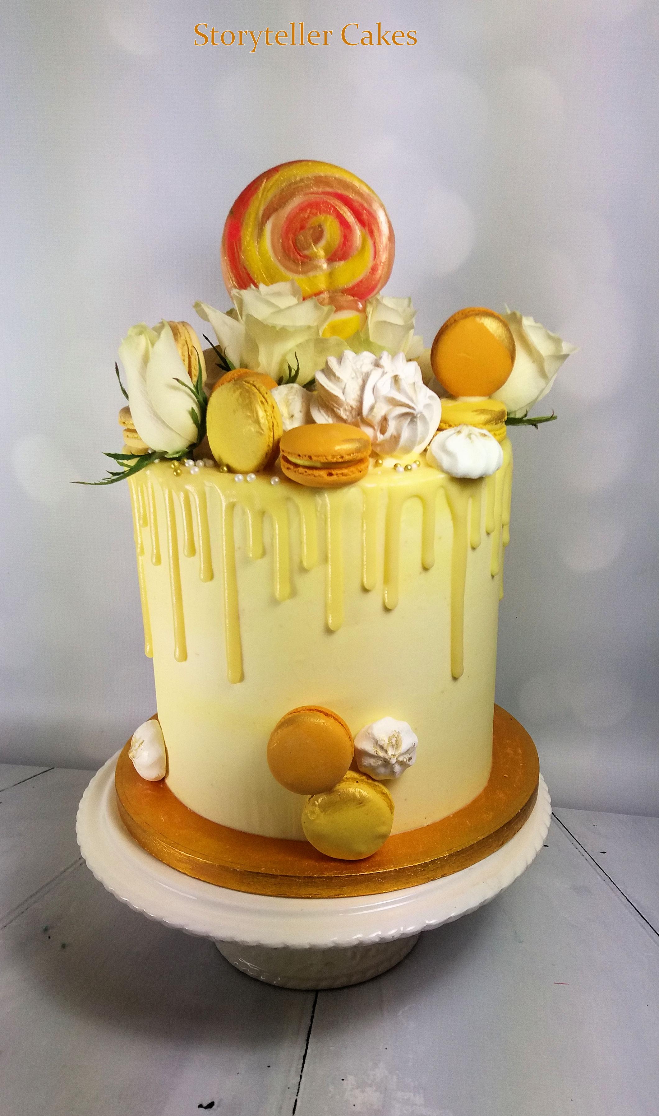 Lemon White Chocolate Drippy buttercream cake 1.jpg