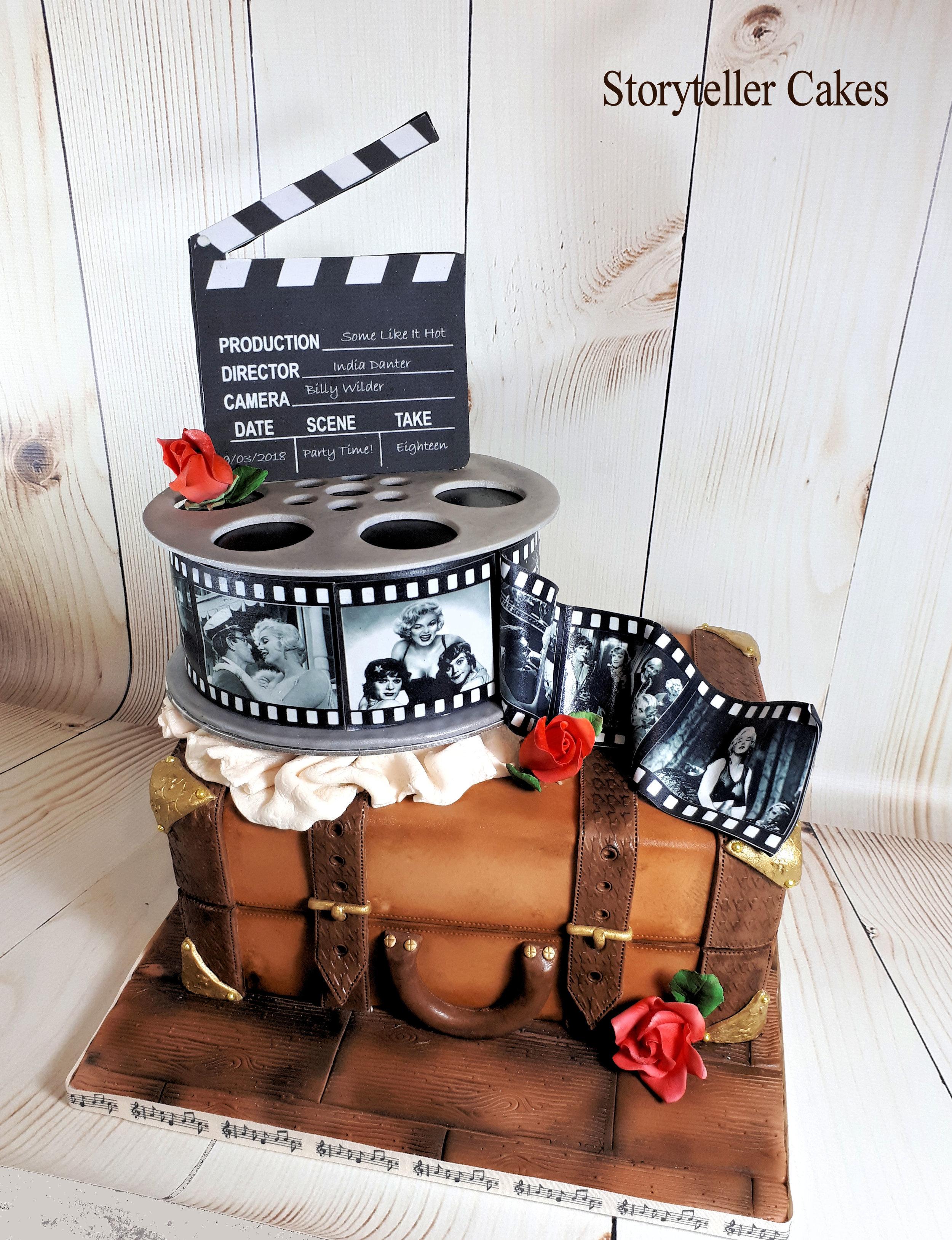 Vintage Suicase & Film Reel Cinema birthday cake 1.jpg