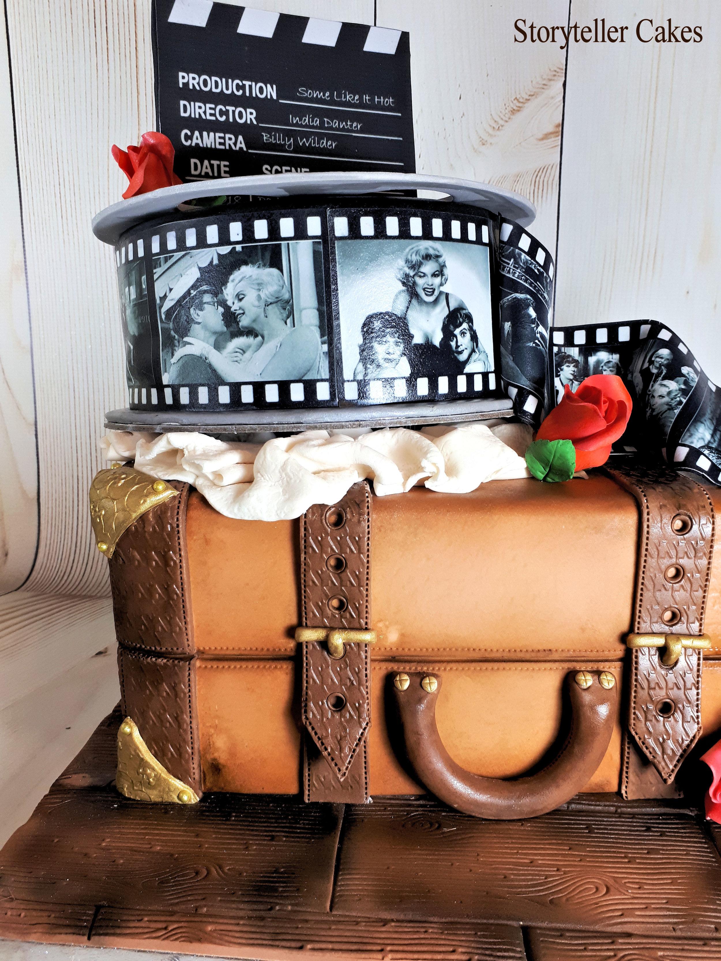 Vintage Suicase & Film Reel Cinema birthday cake 4.jpg