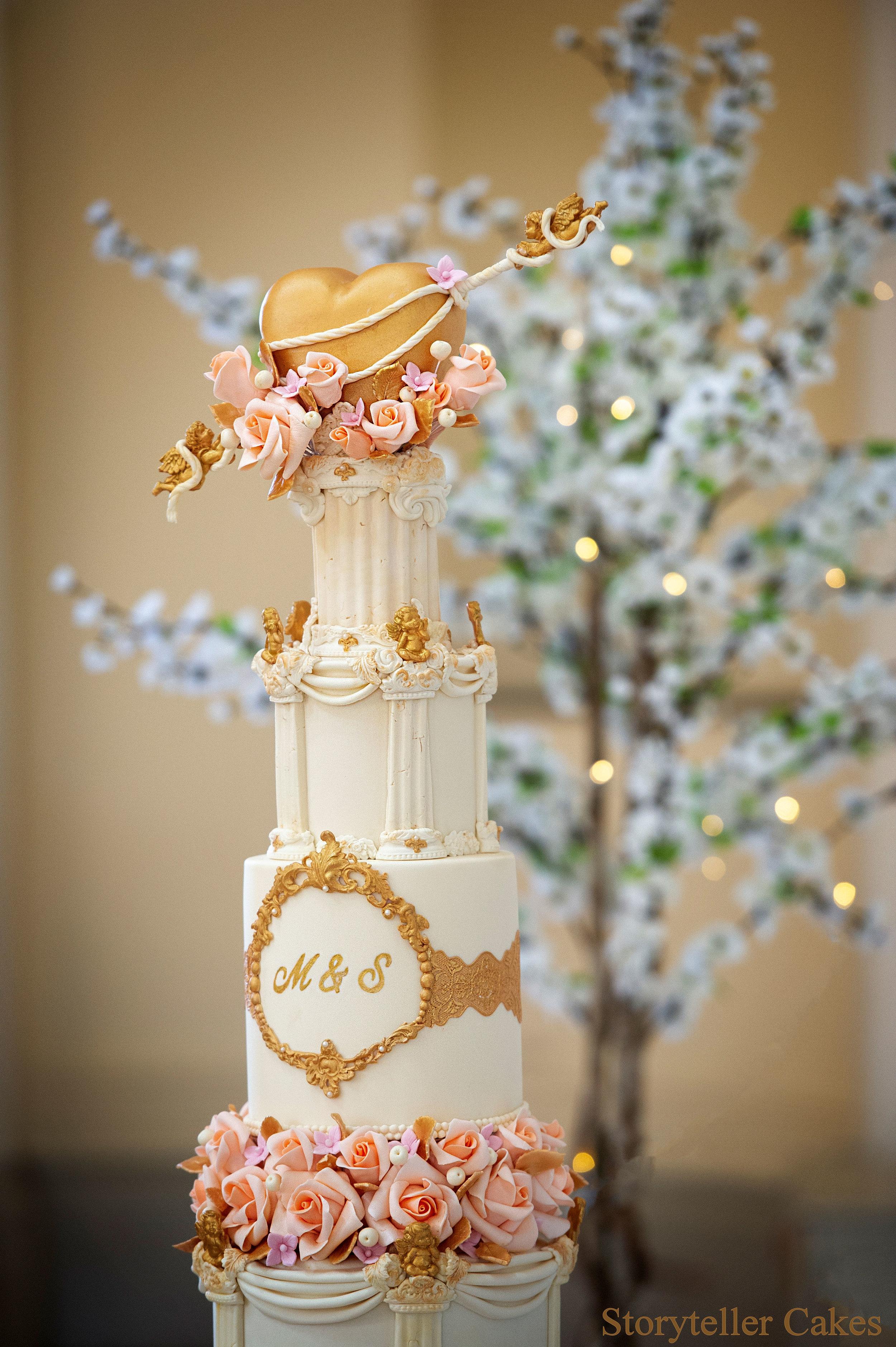 Cherub Floral grecian wedding cake 1-2.jpg