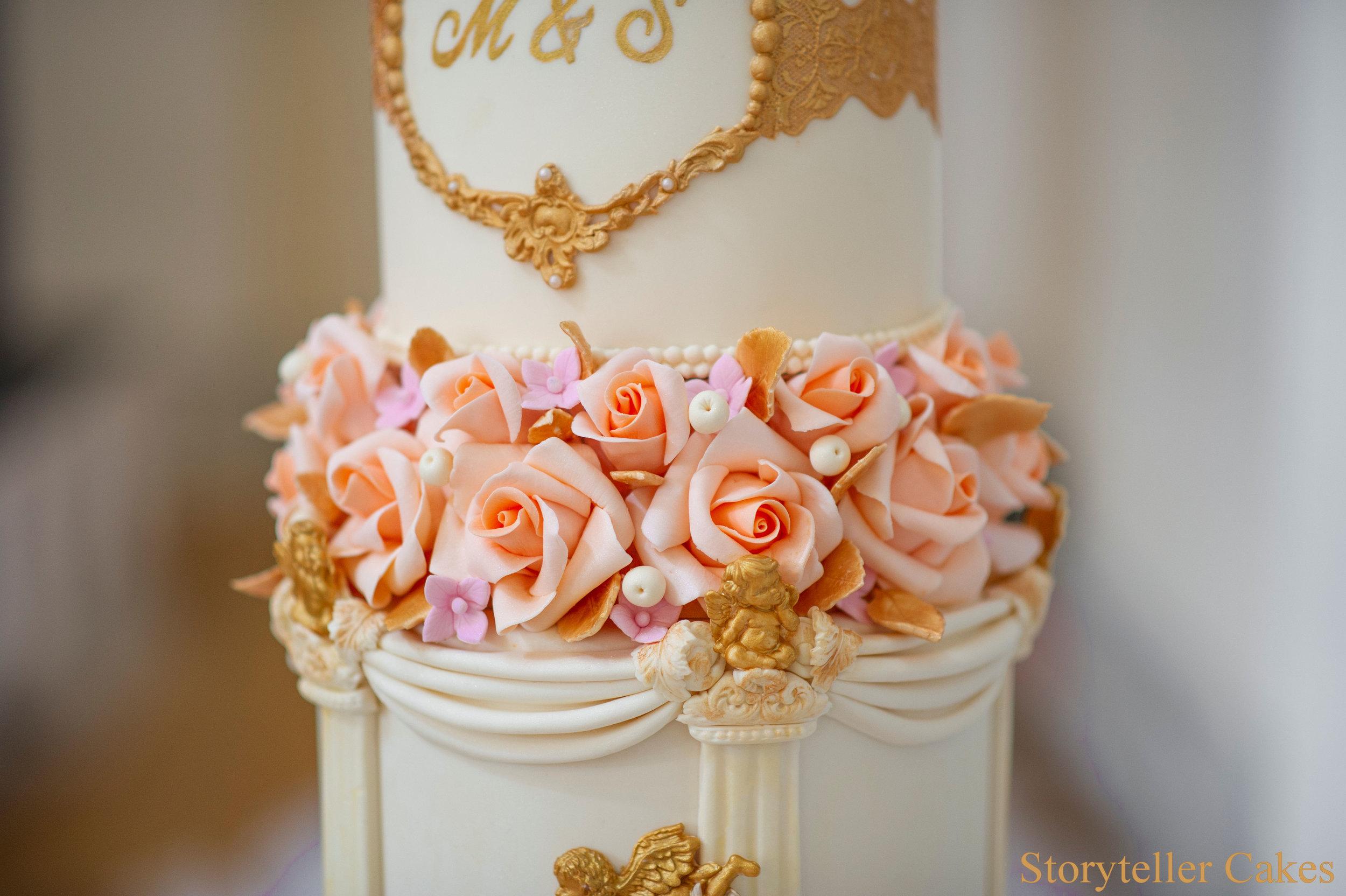 Cherub Floral grecian wedding cake 4.jpg