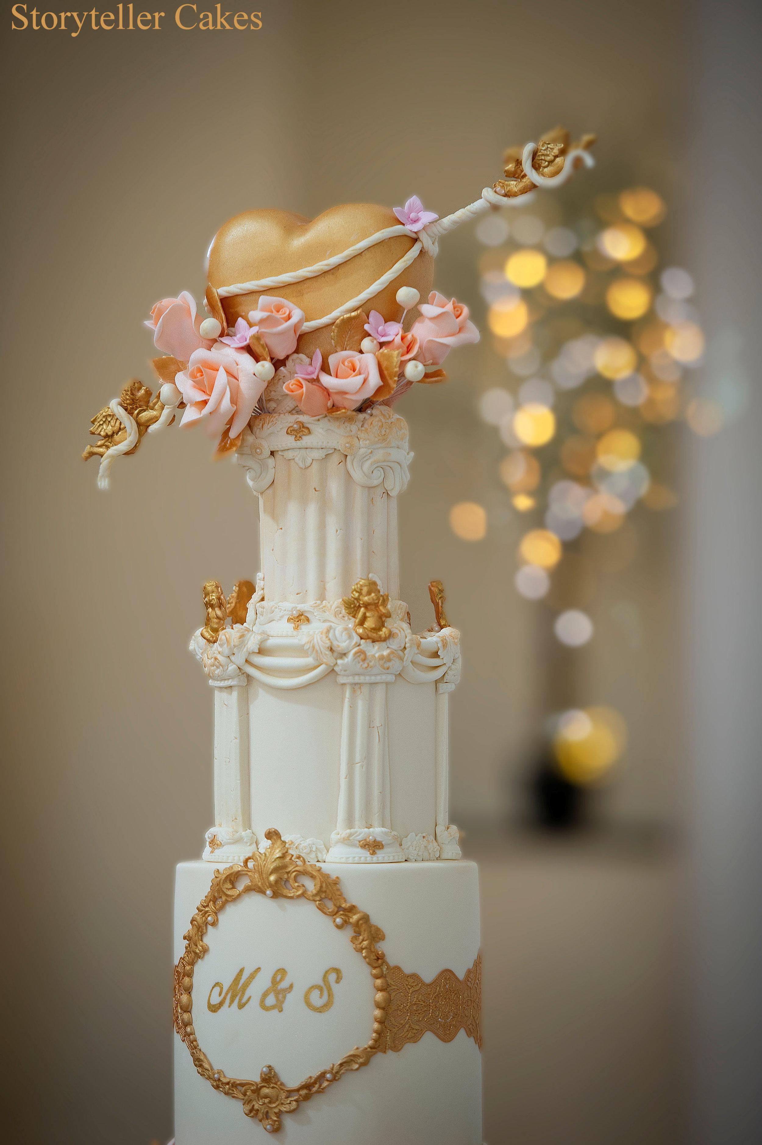 Cherub Floral grecian wedding cake 6.jpg