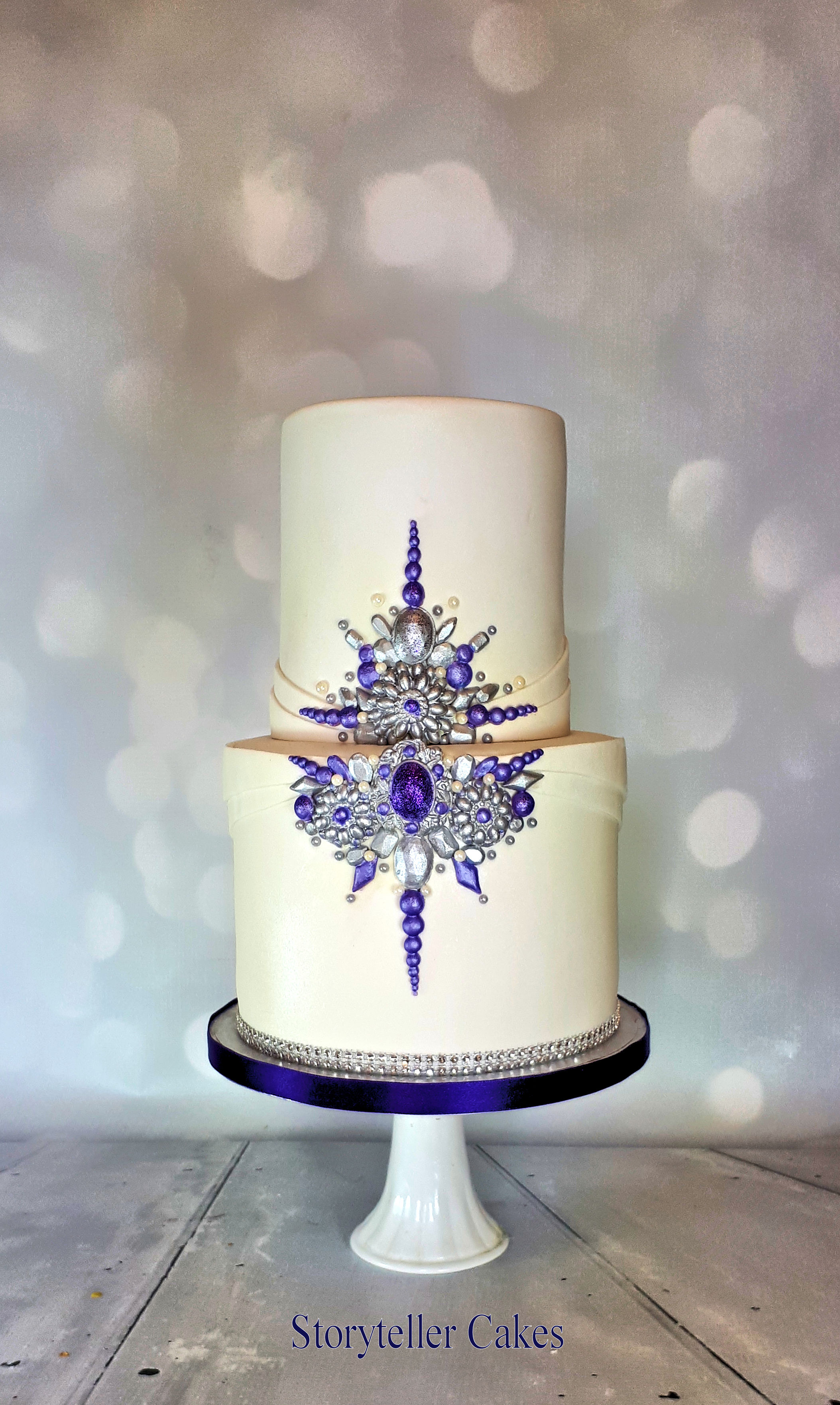 Purple and silver jewel birthday cake 3.jpg