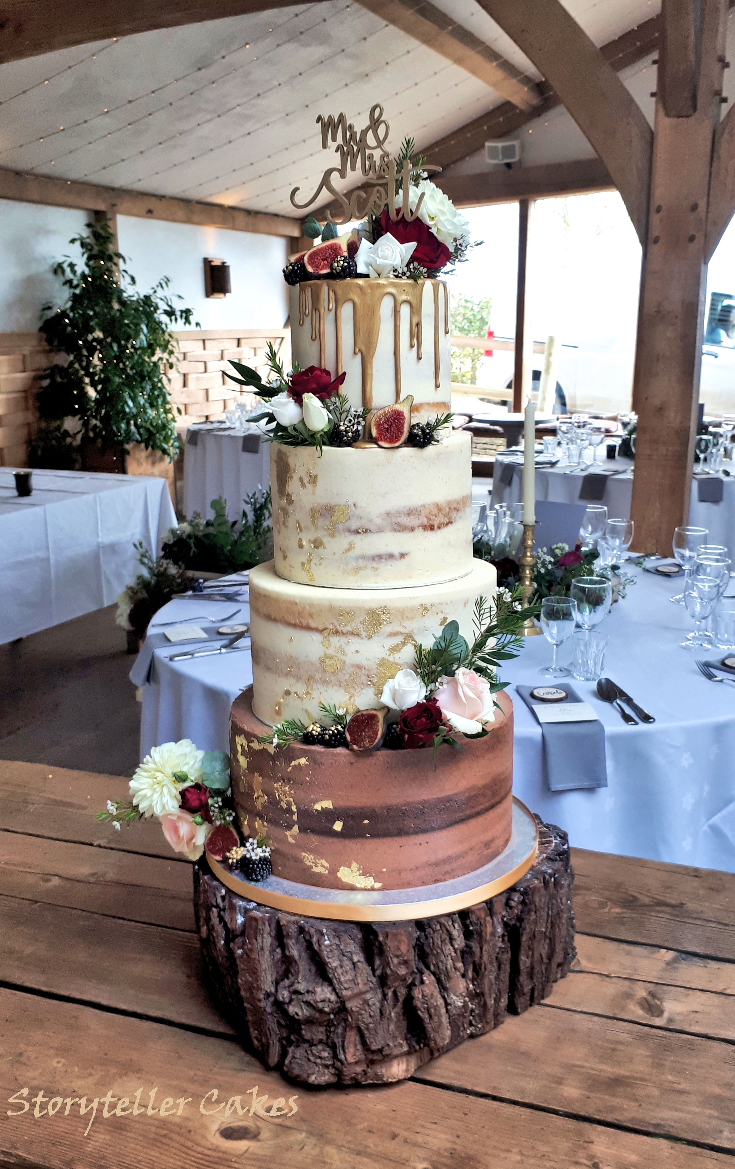 Autumnal Semi Naked gold cake with fresh flowers and fruits.jpg