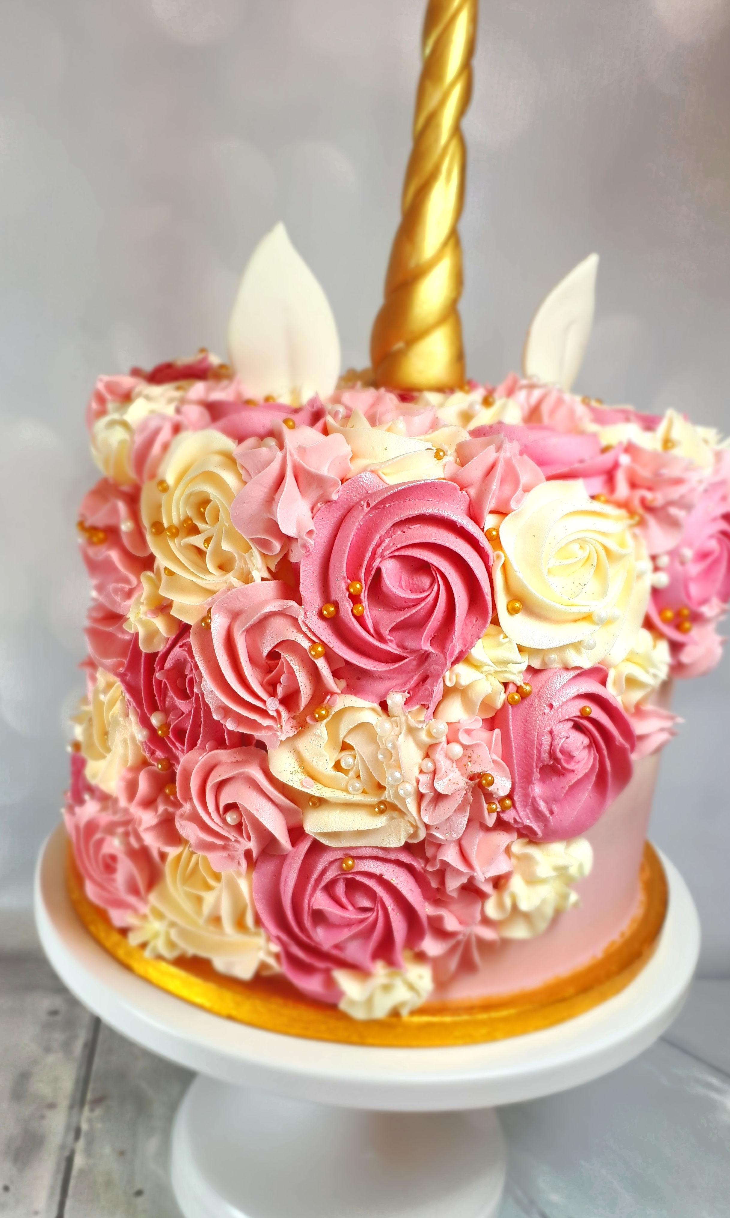 Unicorn Buttercream Birthday Cake in pink and gold2.jpg