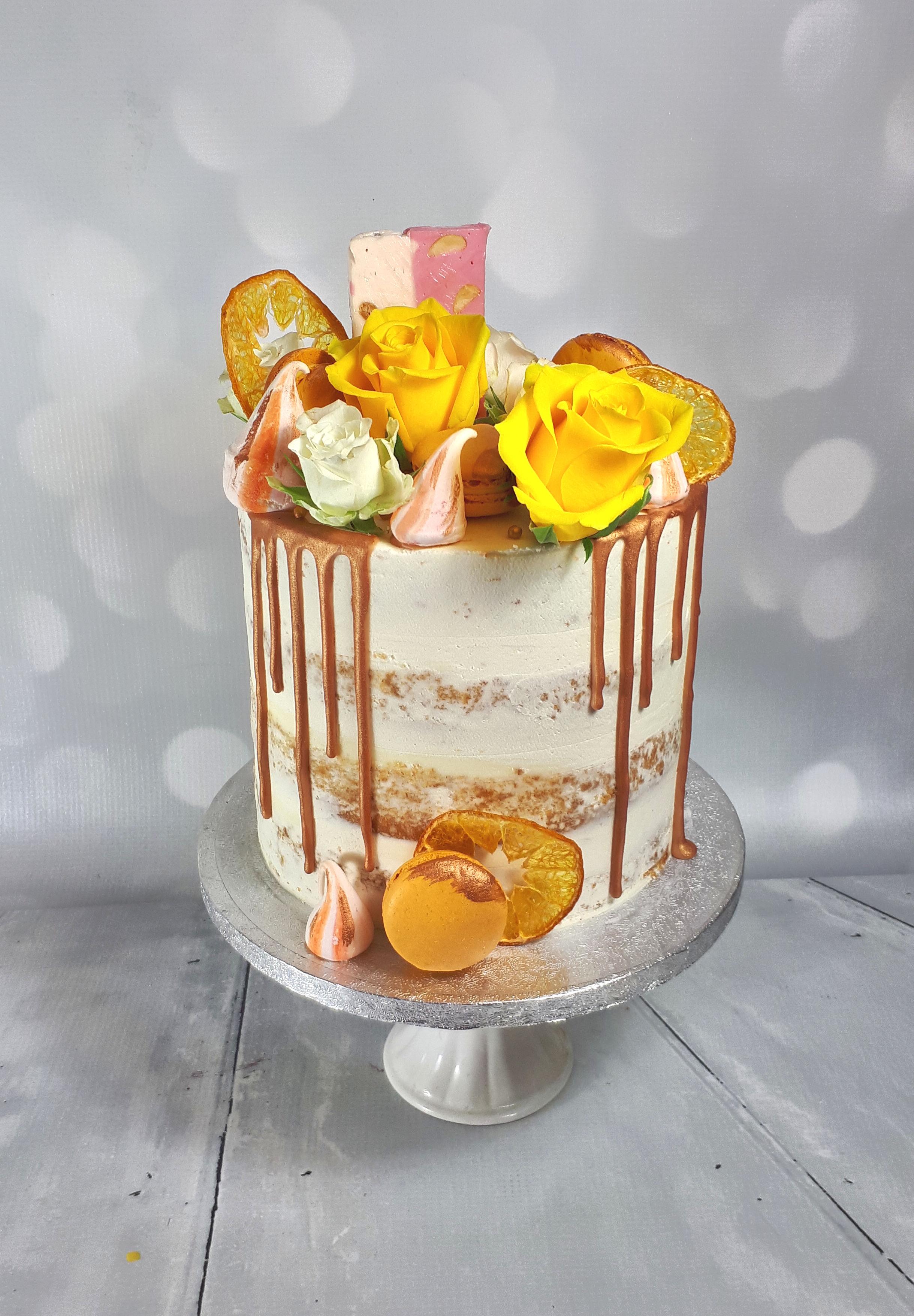 Yellow Rose Buttercream Drippy Cake.jpg