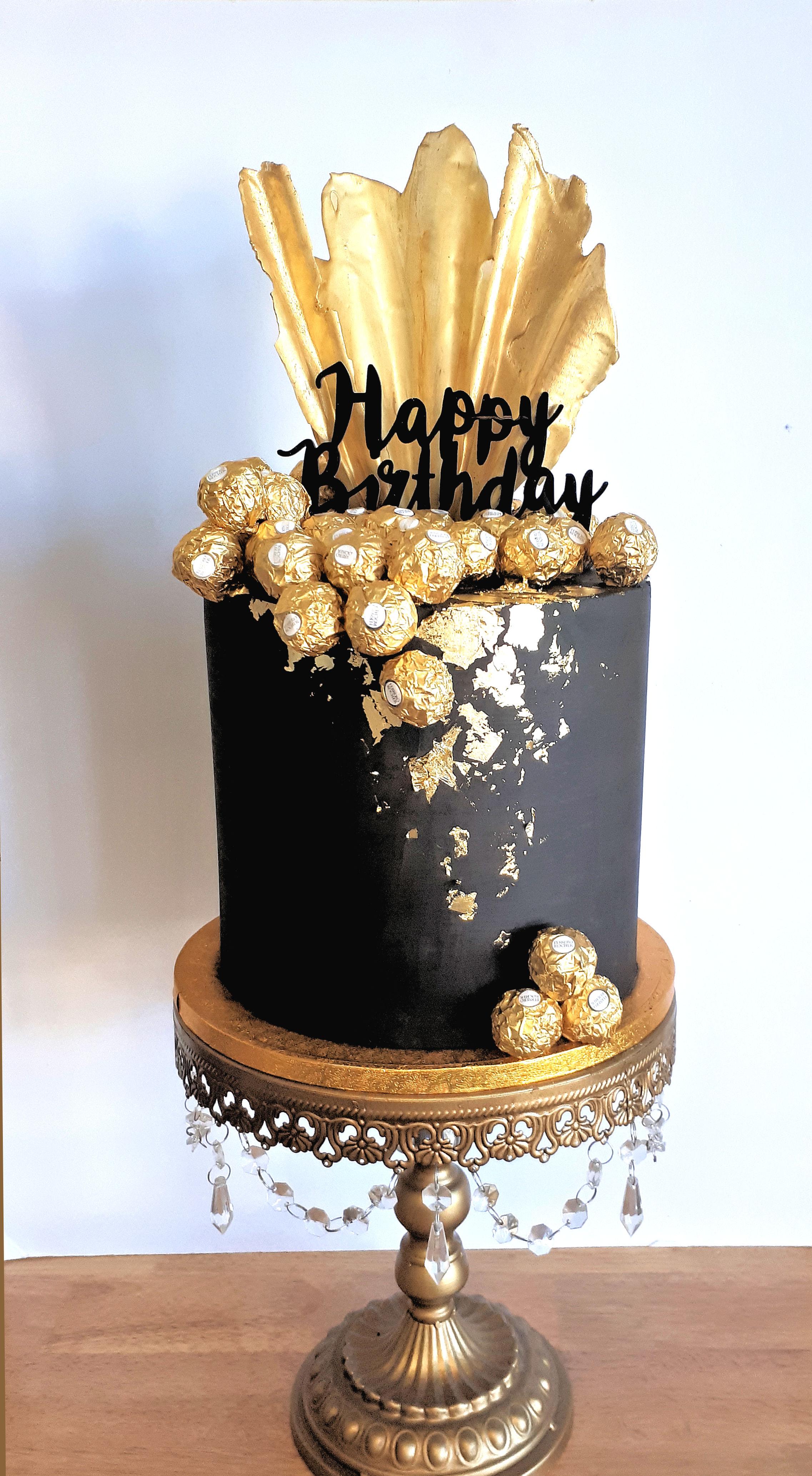 Black & Gold Ferrero Rocher Cake.jpg