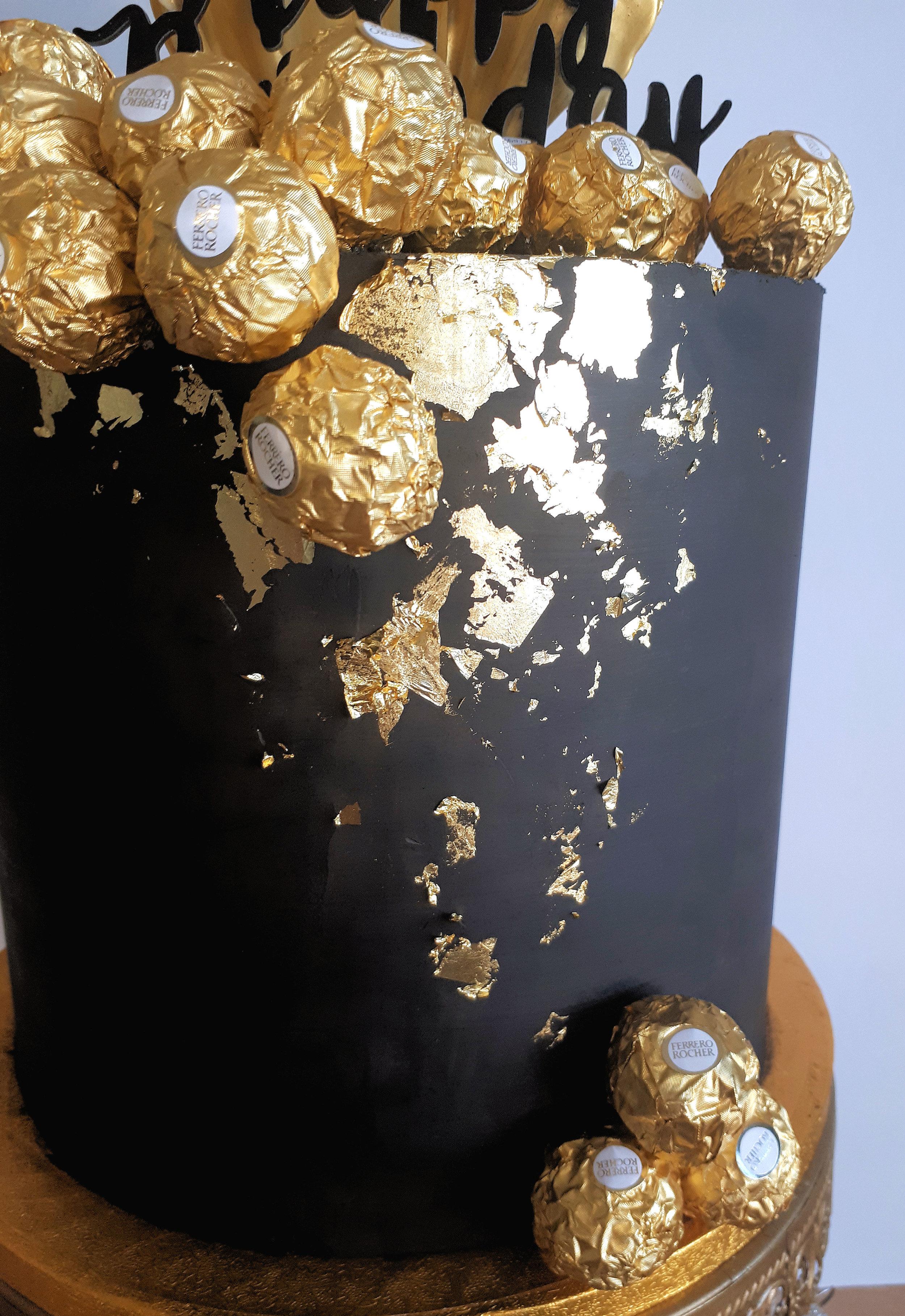 Black & Gold Ferrero Rocher Cake 2.jpg