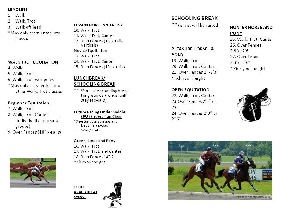 Show schedule for Hand Made Luck Stables horse show.