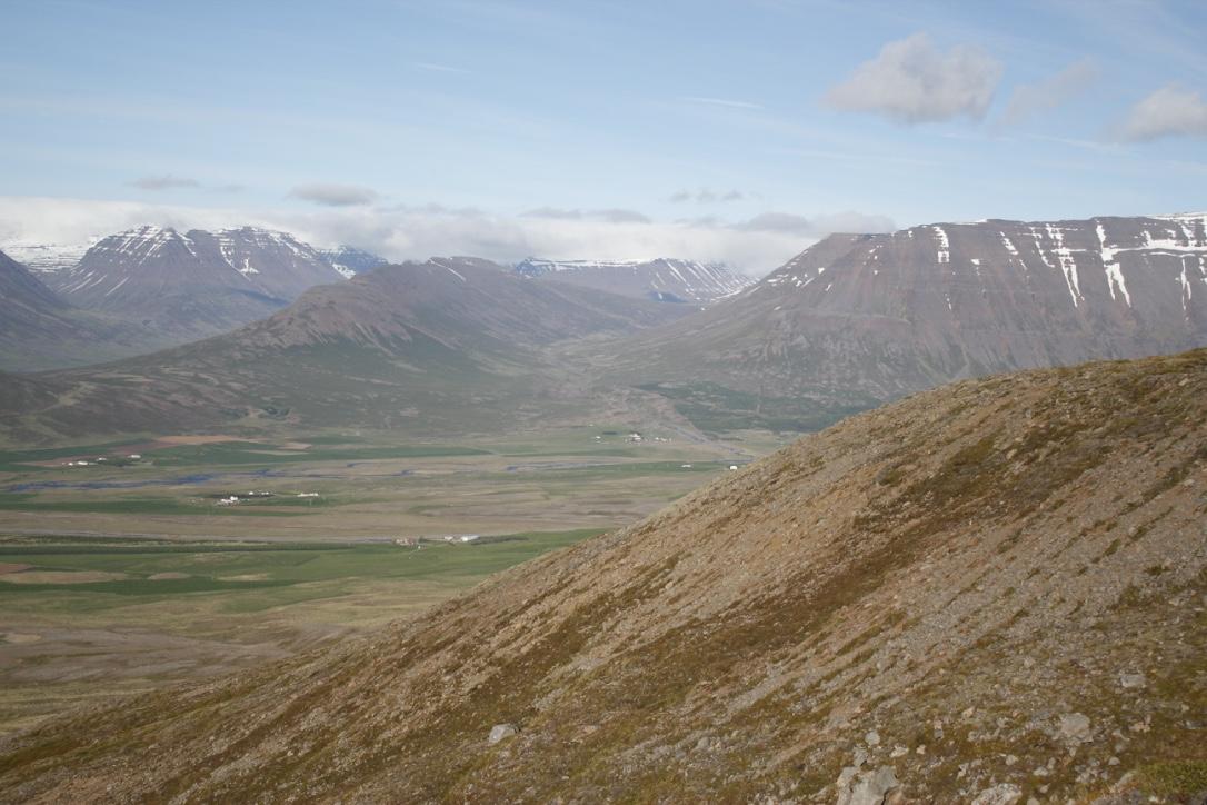 View towards Hólar, Mount Elliði and Hólabyrða
