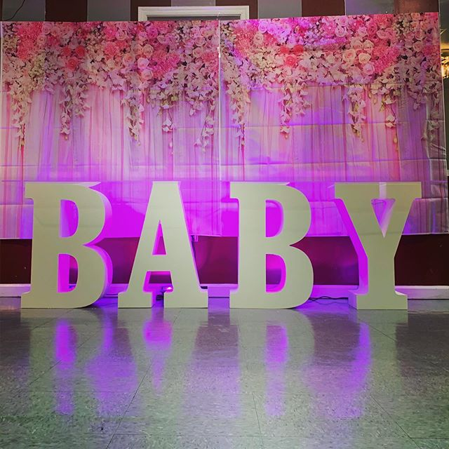 "Jina's little princess is expecting a little princess! We were lucky enough to light up her niece's baby shower! .  Included in this rental: 👉 BABY Letters: 28"" h x 10"" d - free standing. 👉 8ft x 2ft Clear Acrylic Table top . 👉 LED Backlighting: Pink (choose any color) . 👉 Delivery & Set Up 👉 Break Down & Pick Up  Our BABY letters are cut from a high density professional grade foam using our INDUSTRIAL computer controlled CNC machine which precisely cuts each letter to the perfect shape. Most foam letters are easily dented and damaged after the first use just by simply handling them. To prevent these dents, we install a hard top layer to both sides of each letter to prevent dents, scratches, etc. . . At Philly Marquee, we stand out from the rest. Our products are cut from our full sized industrial equipment which gives our products a professional edge. . . Let us know if you have questions or need help deciding which letter combination is best suited for your party or your venue!  #babyshower #baby #babyshowerideas #philly #philadelphia #love #art #instagood #fashion #music #hiphop #photography #usa #repost #photooftheday #artist #rap #pennsylvania #motivation #fitness #phillysupportphilly #model #visitphilly #happy #style #beautiful #phillygram #inspiration"
