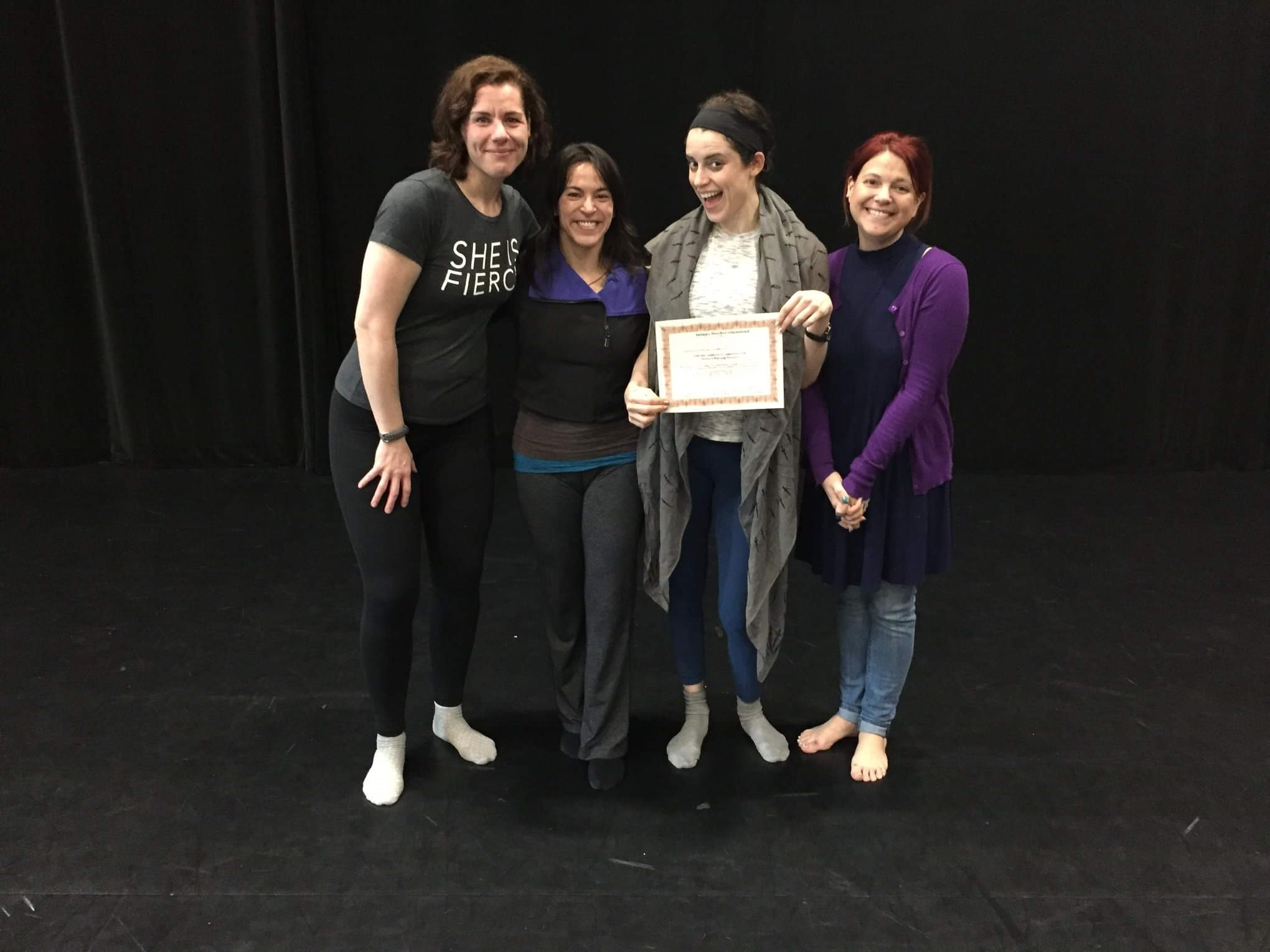 Carly with Master Teachers Claire Warden, Siobhan Richardson, and Tonia Sina.