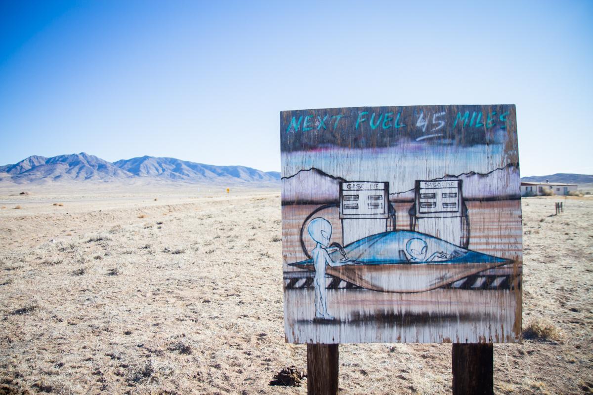 Folk Art Sign at Abandoned Gas Station Along the Extra-Terrestrial Highway - Rachel, Nevada - 2012