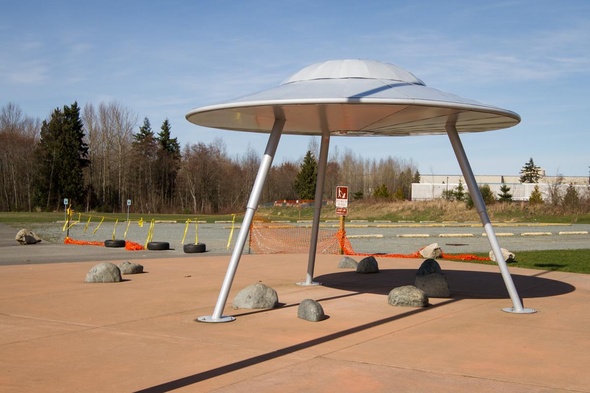 """Landing Zone"" Flying Saucer Sculpture by Artist Peter Reiquam - Everett, Washington - 2013"